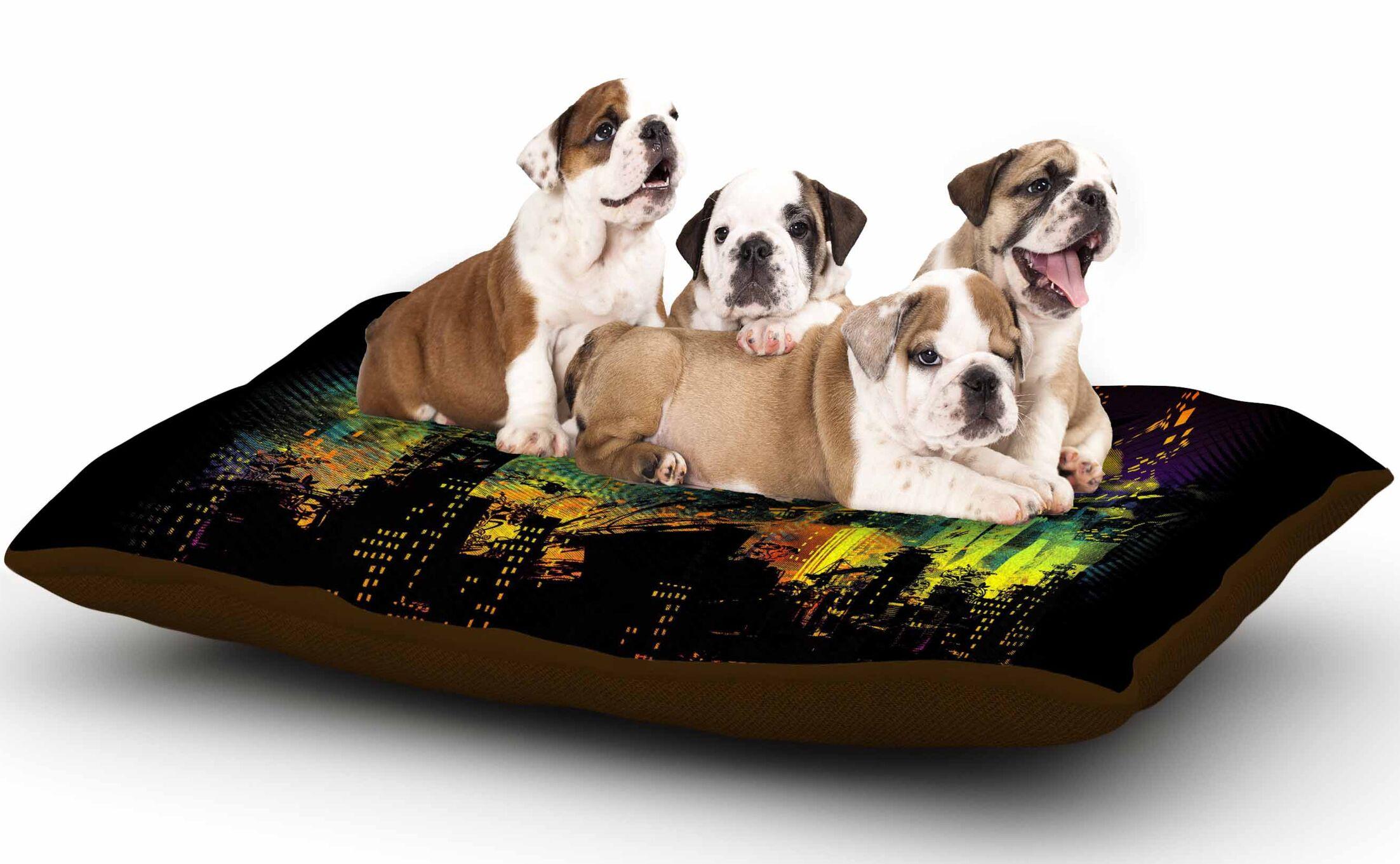 Federic Levy-Hadida 'City Grid' Dog Pillow with Fleece Cozy Top