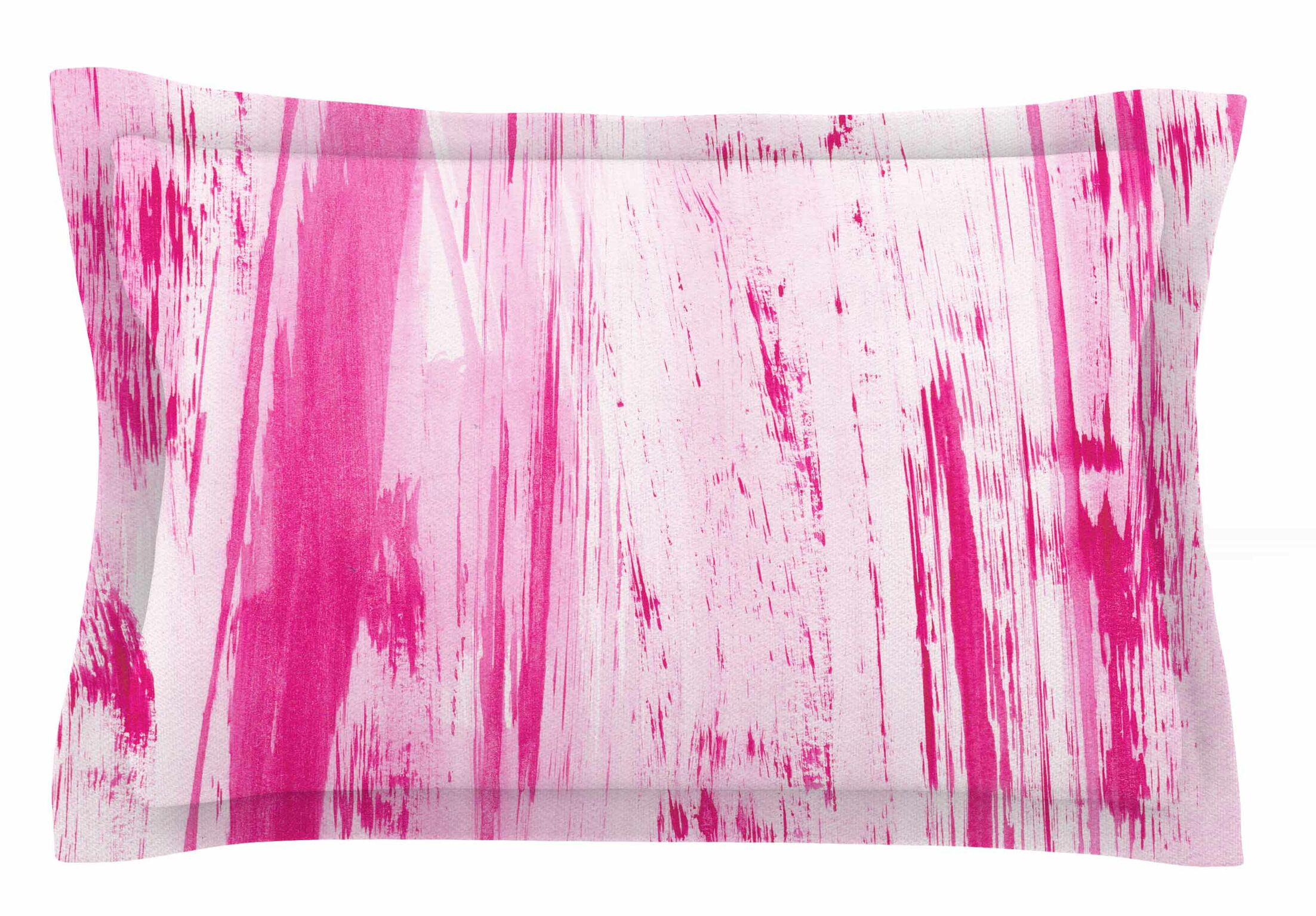 Danii Pollehn 'Pink Stripes' Watercolor Sham Size: Queen