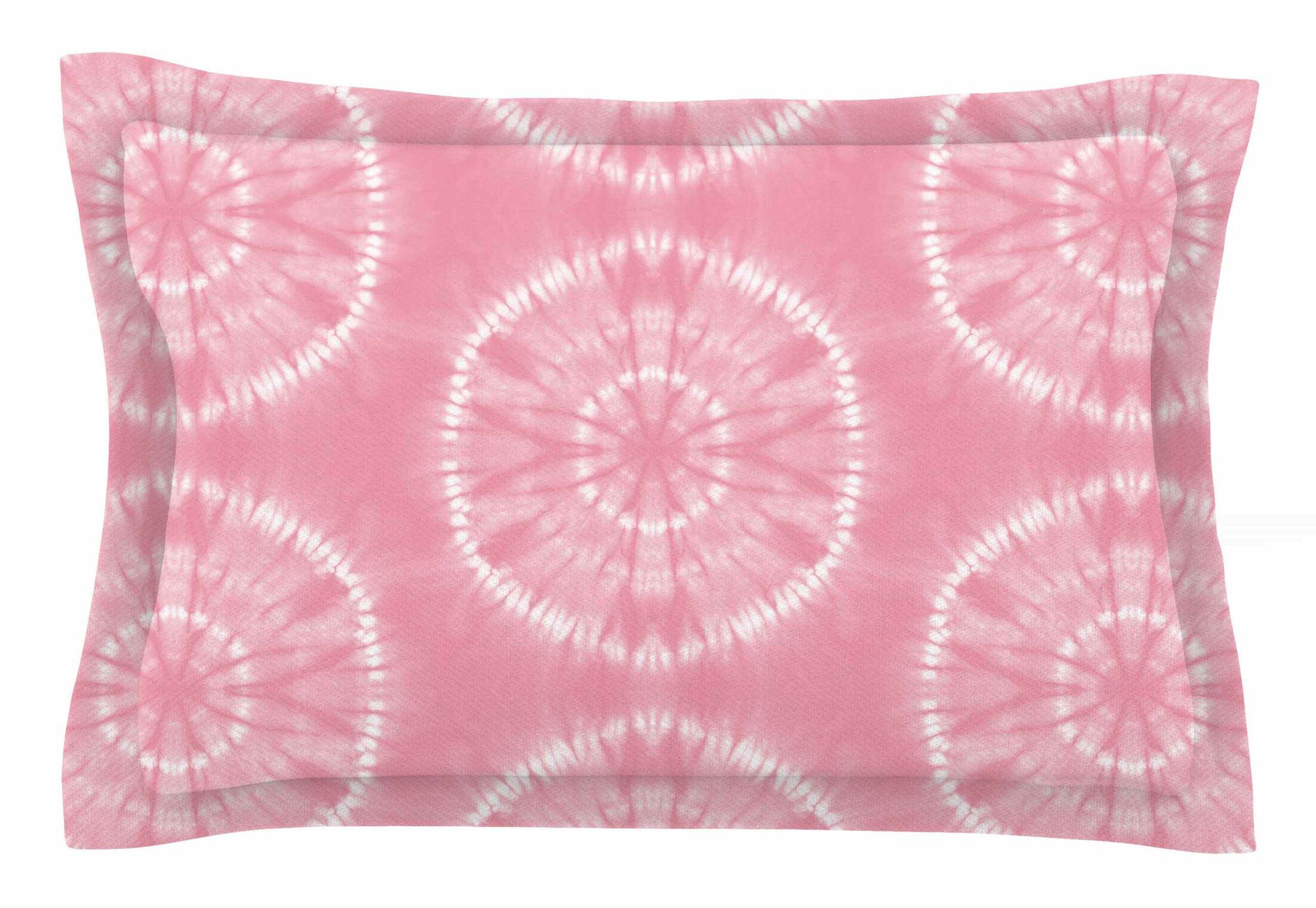 Jacqueline Milton 'Shibori Circles' Mixed Media Sham Size: Queen, Color: Pink/Pastel