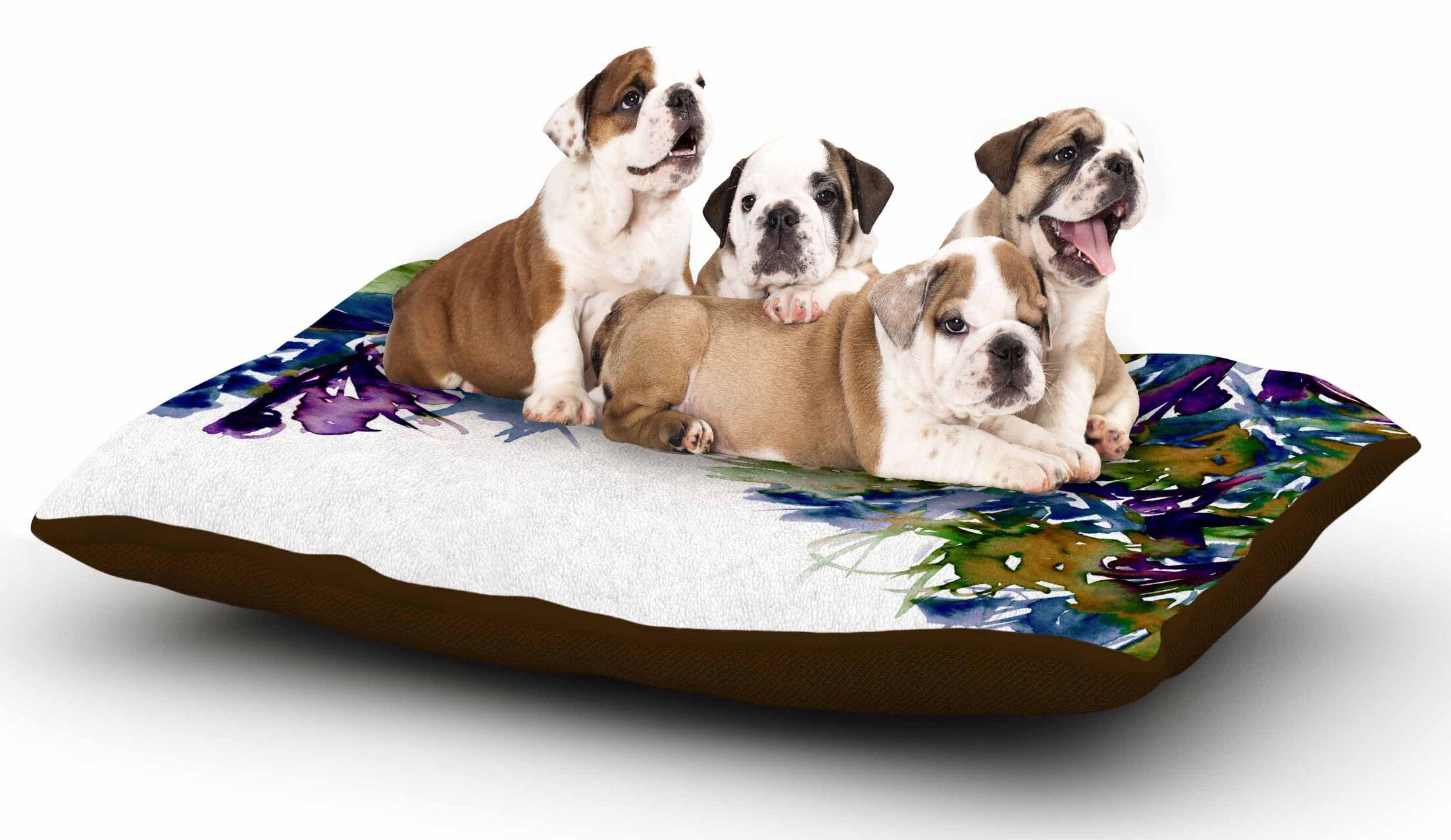 Ebi Emporium 'Floral Cascade 4' Dog Pillow with Fleece Cozy Top