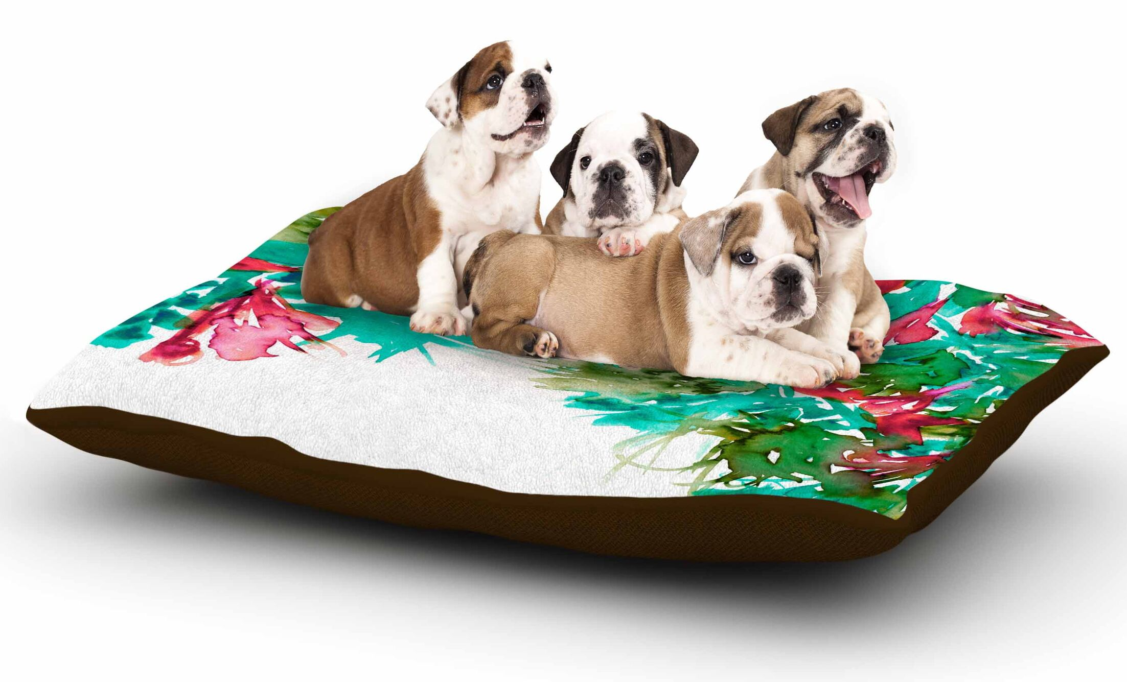 Ebi Emporium 'Floral Cascade 7' Dog Pillow with Fleece Cozy Top