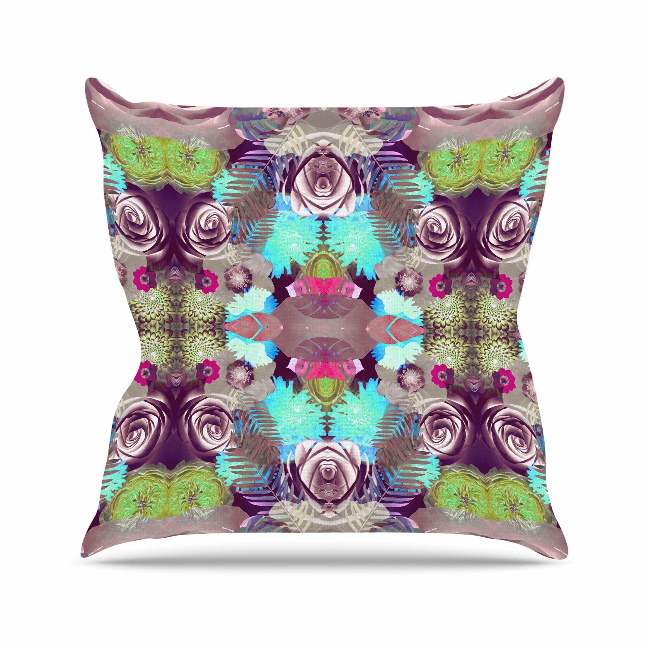 Vasare Nar Kaleidoscopic Boho Outdoor Throw Pillow Size: 16