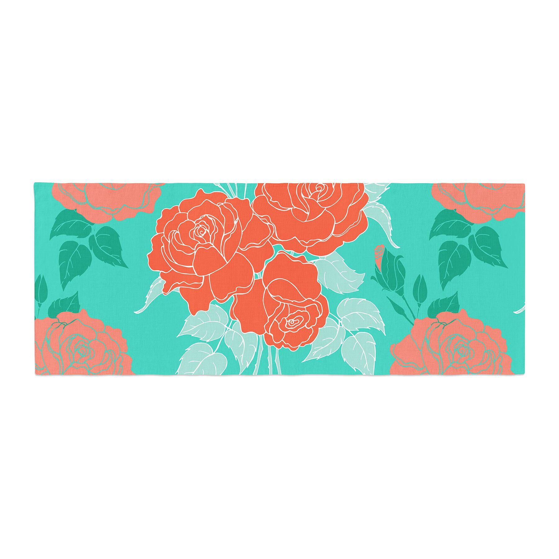 Anneline Sophia Summer Rose Bed Runner Color: Orange/Teal/Green
