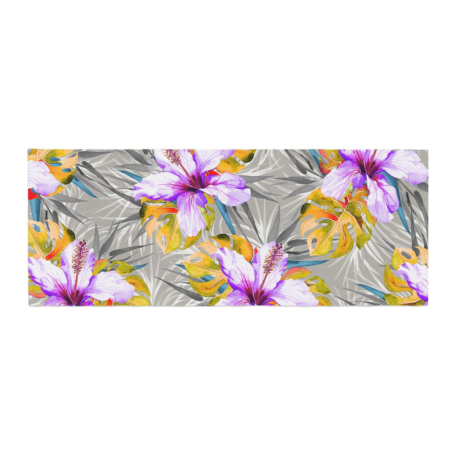 Mmartabc Tropical Flowery Illustration Bed Runner