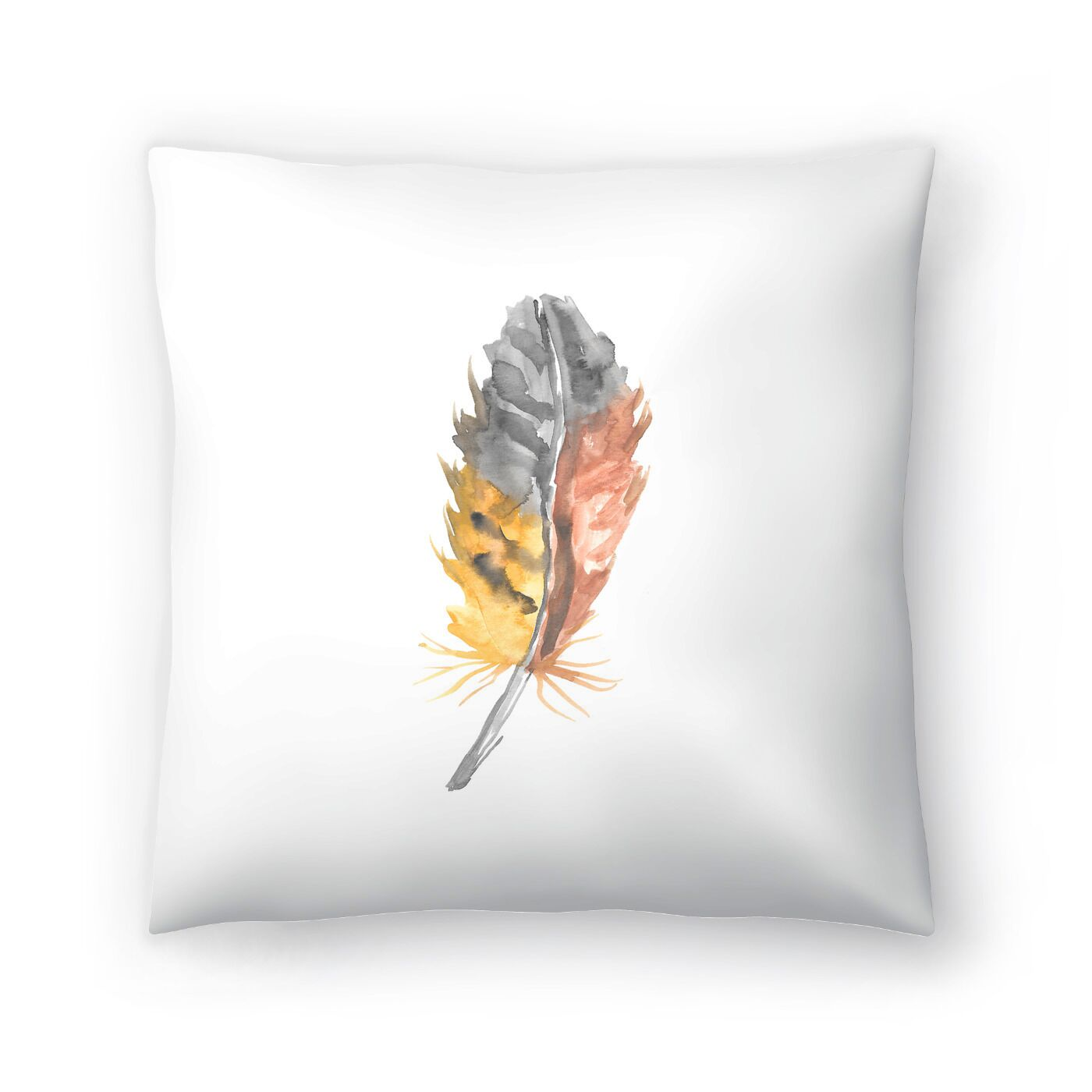 Jetty Printables Nursery Watercolor Feather Throw Pillow Size: 16
