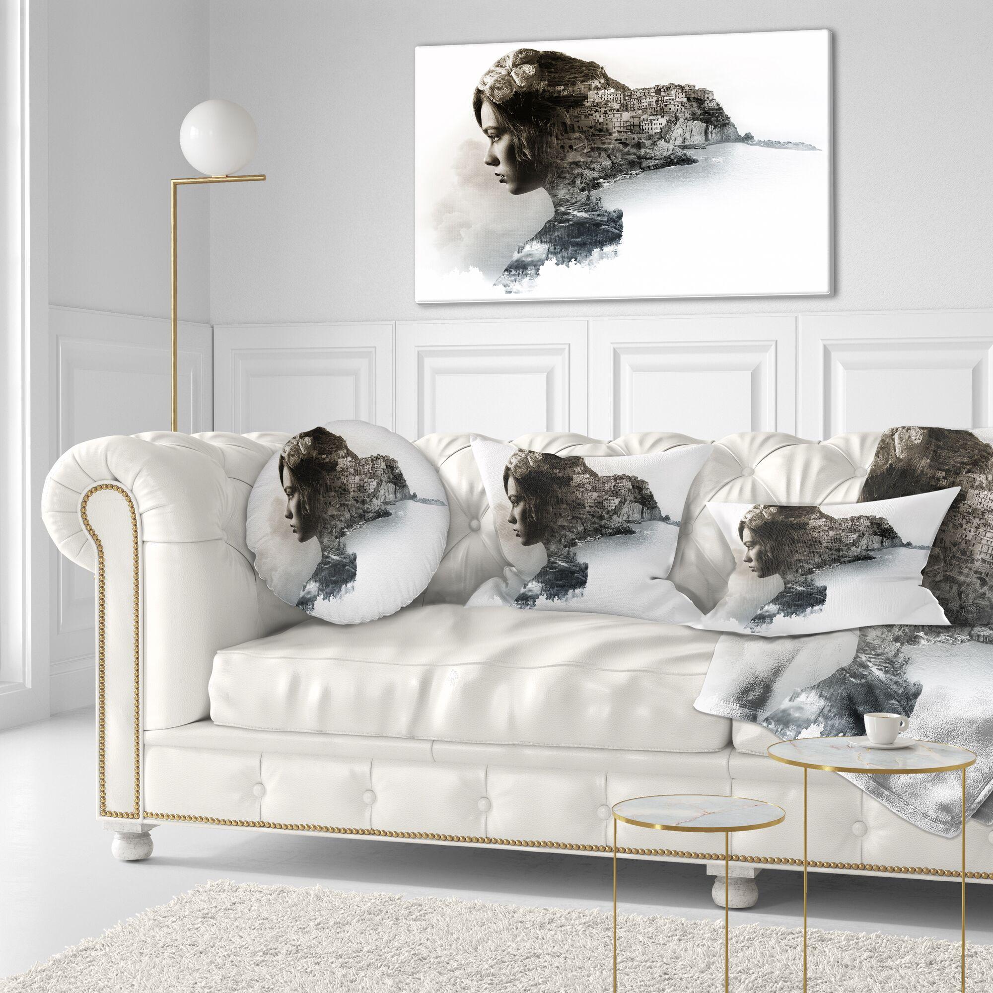 Portrait Stylish Woman and View of Manarola Throw Pillow Size: 16