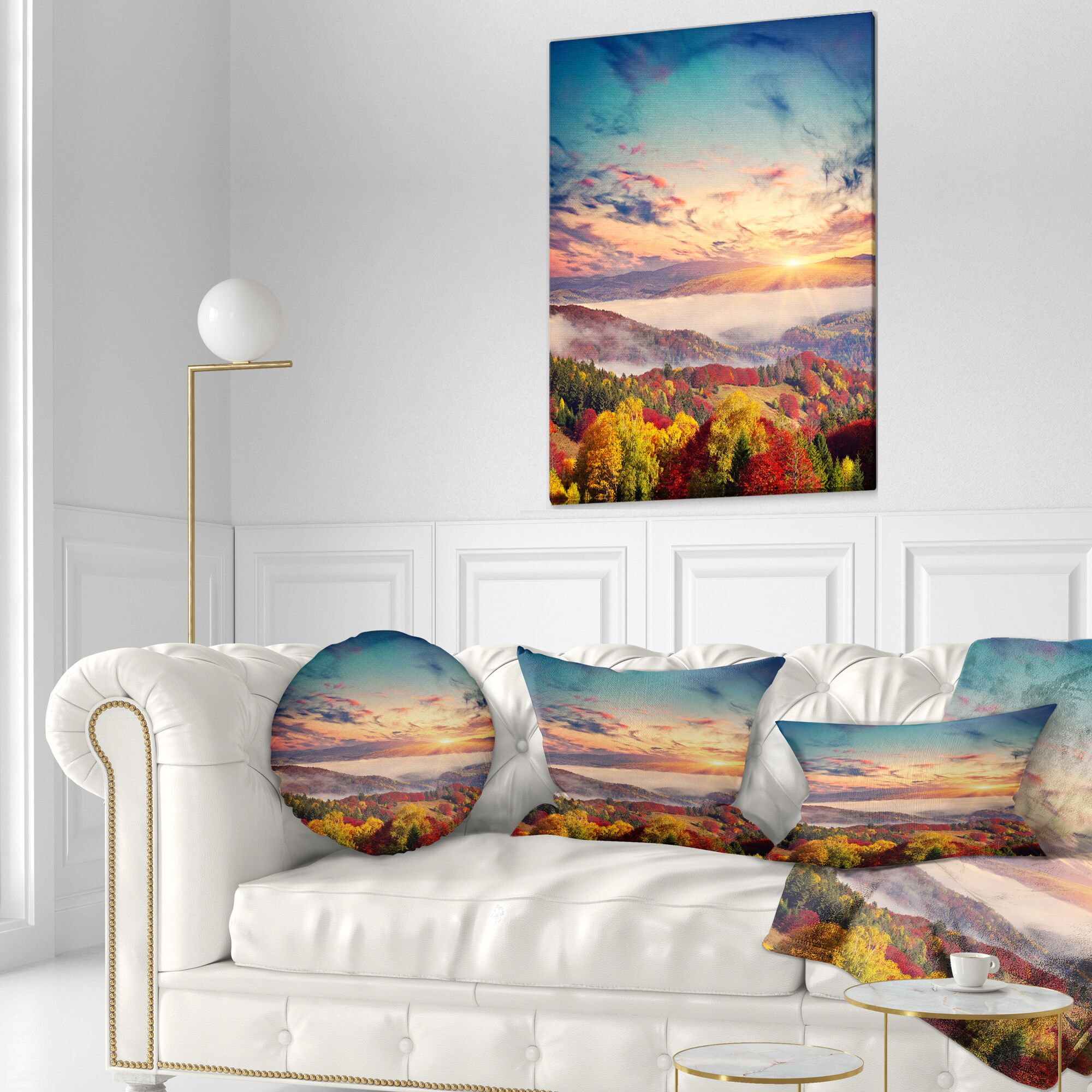 Landscape Colorful Sunset in Foggy Mountains Throw Pillow Size: 20
