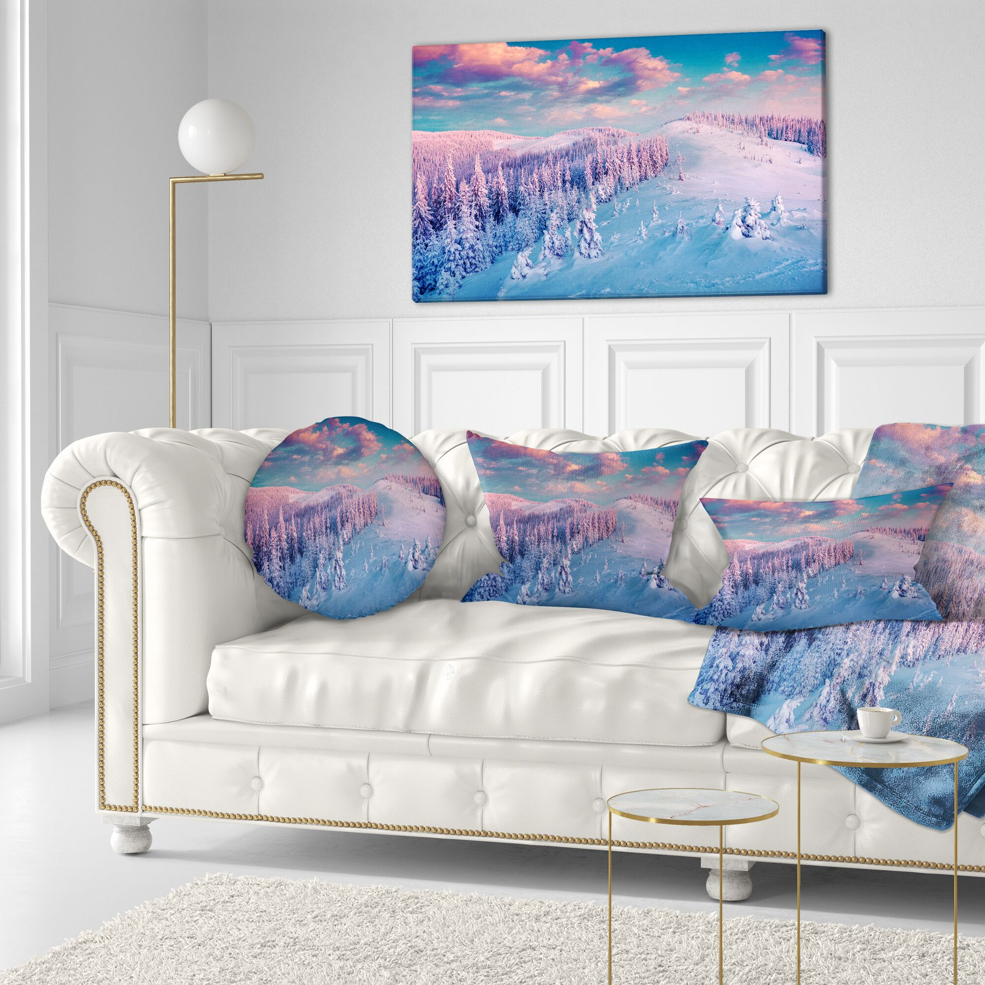 Landscape Printed Fantastic Sunrise over the Carpathians Lumbar Pillow