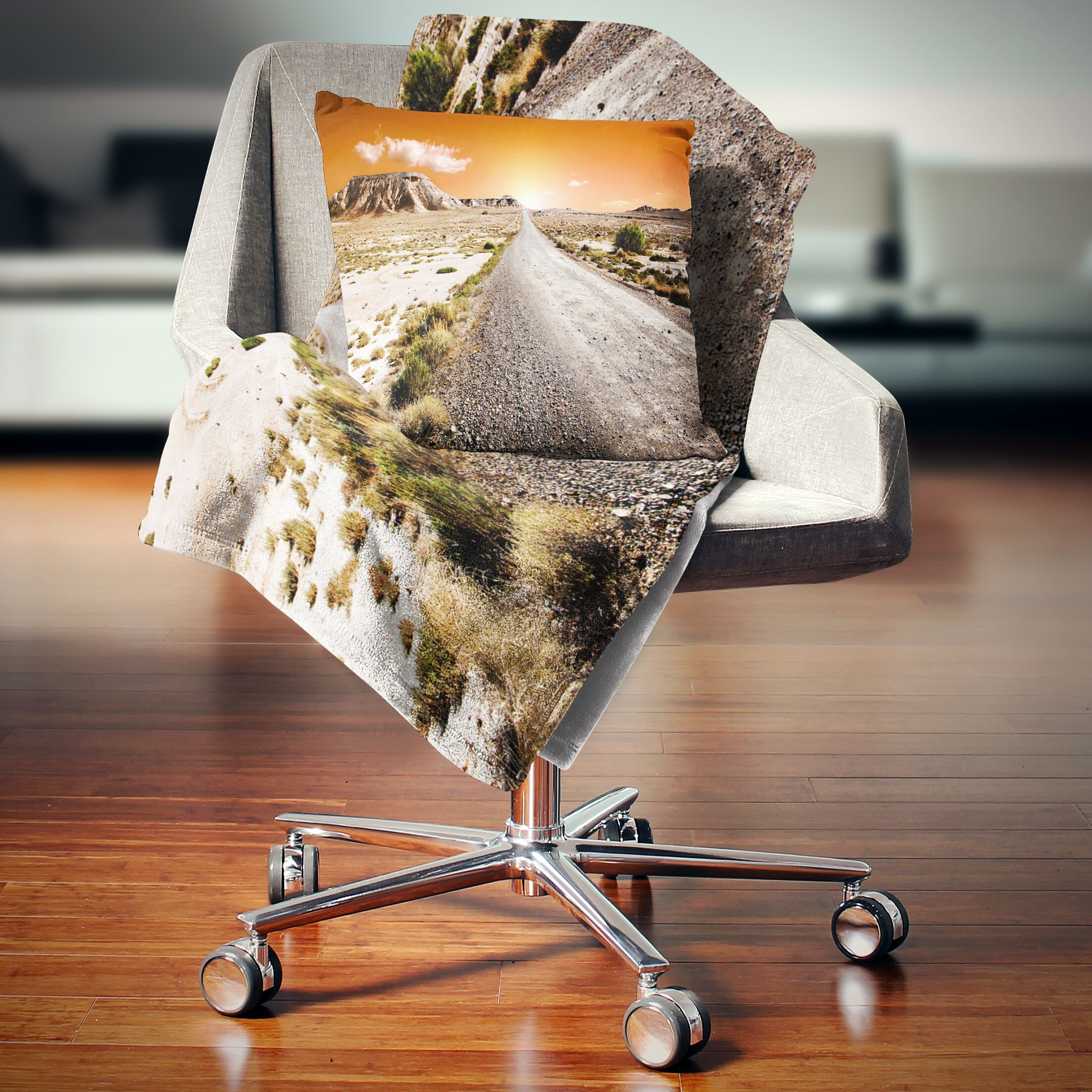 Landscape Printed Sunset Desert with Pebble Road Pillow Size: 18
