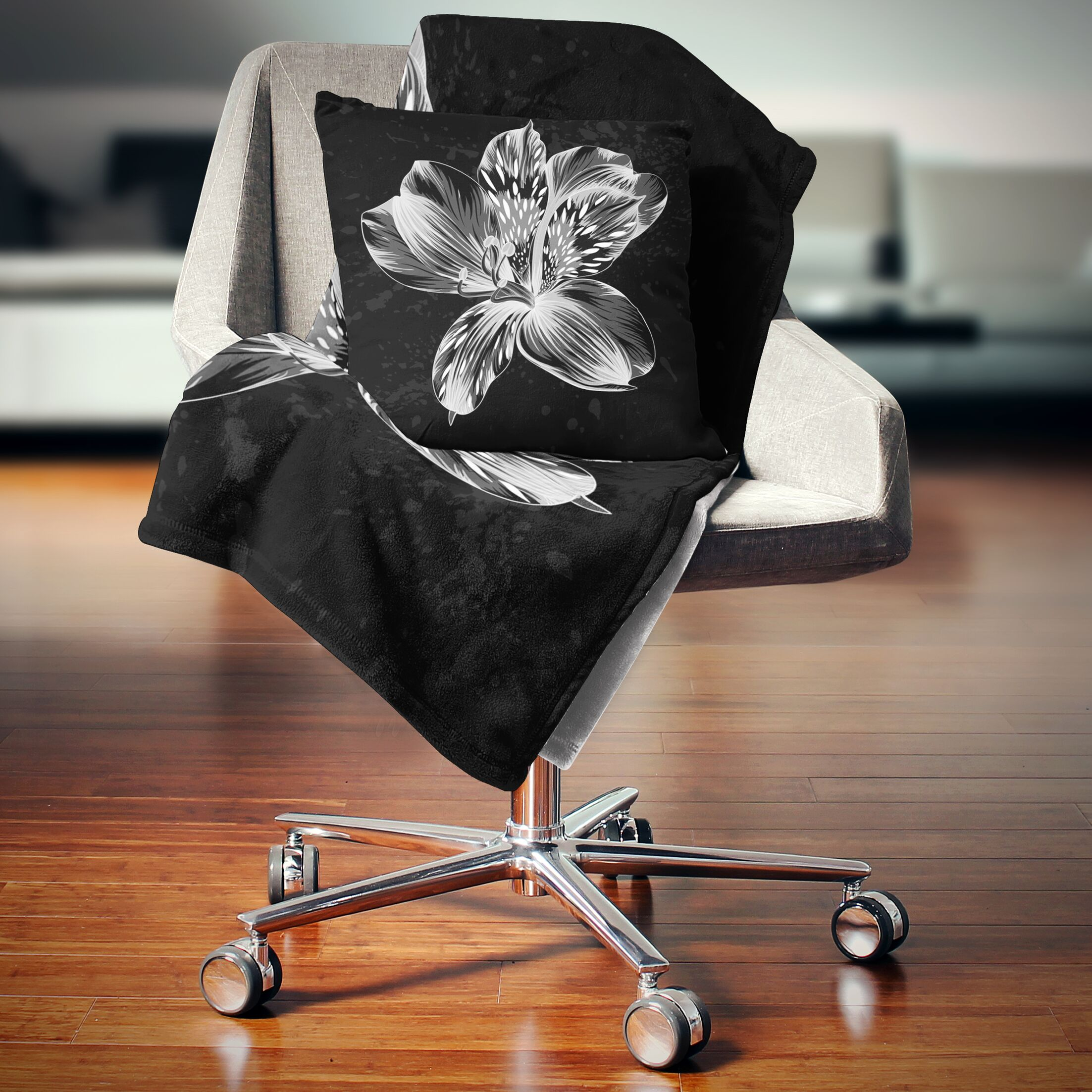 Floral Beautiful Monochrome Alstroemeria Flower Pillow Size: 16
