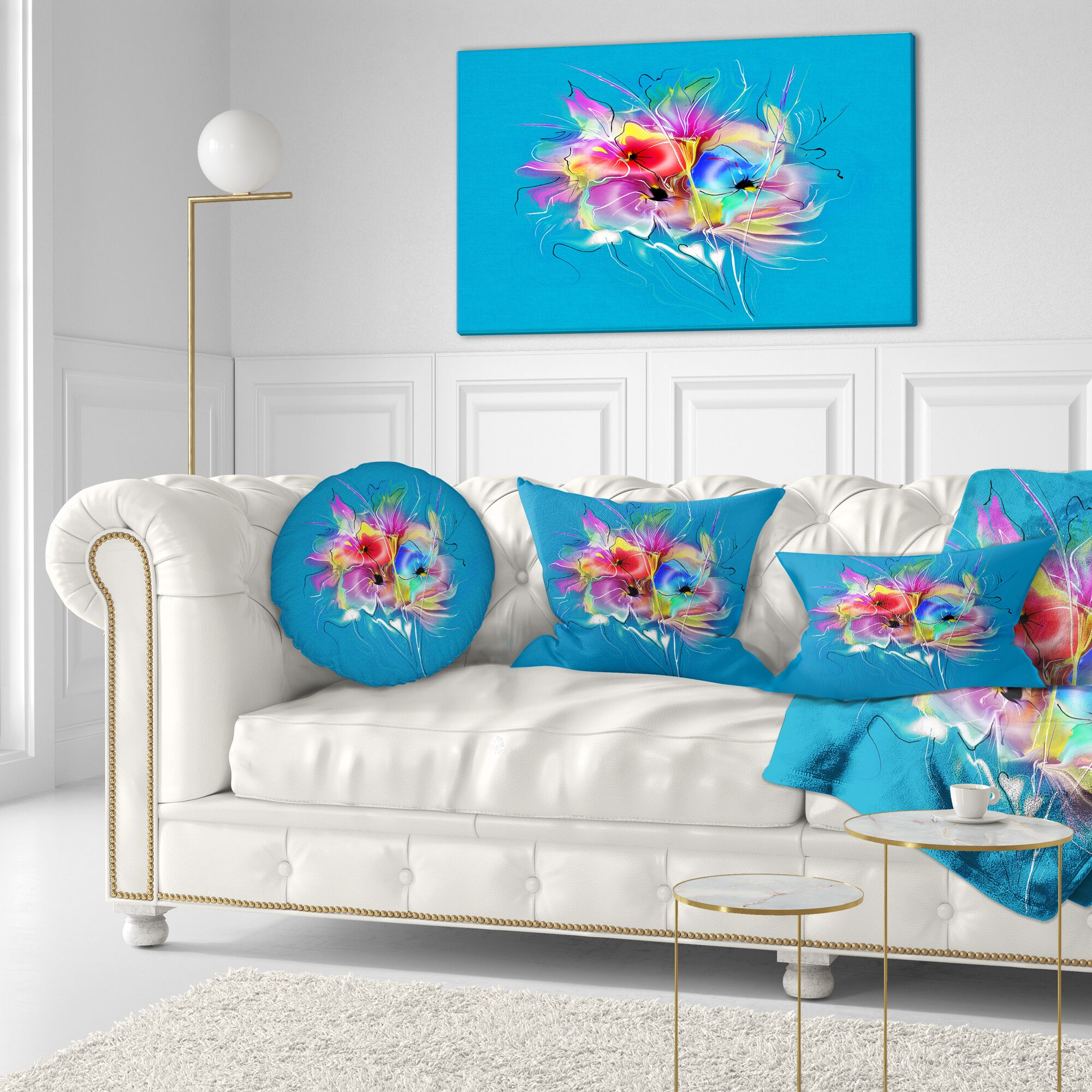 Floral Summer Colorful Flowers Throw Pillow Size: 20