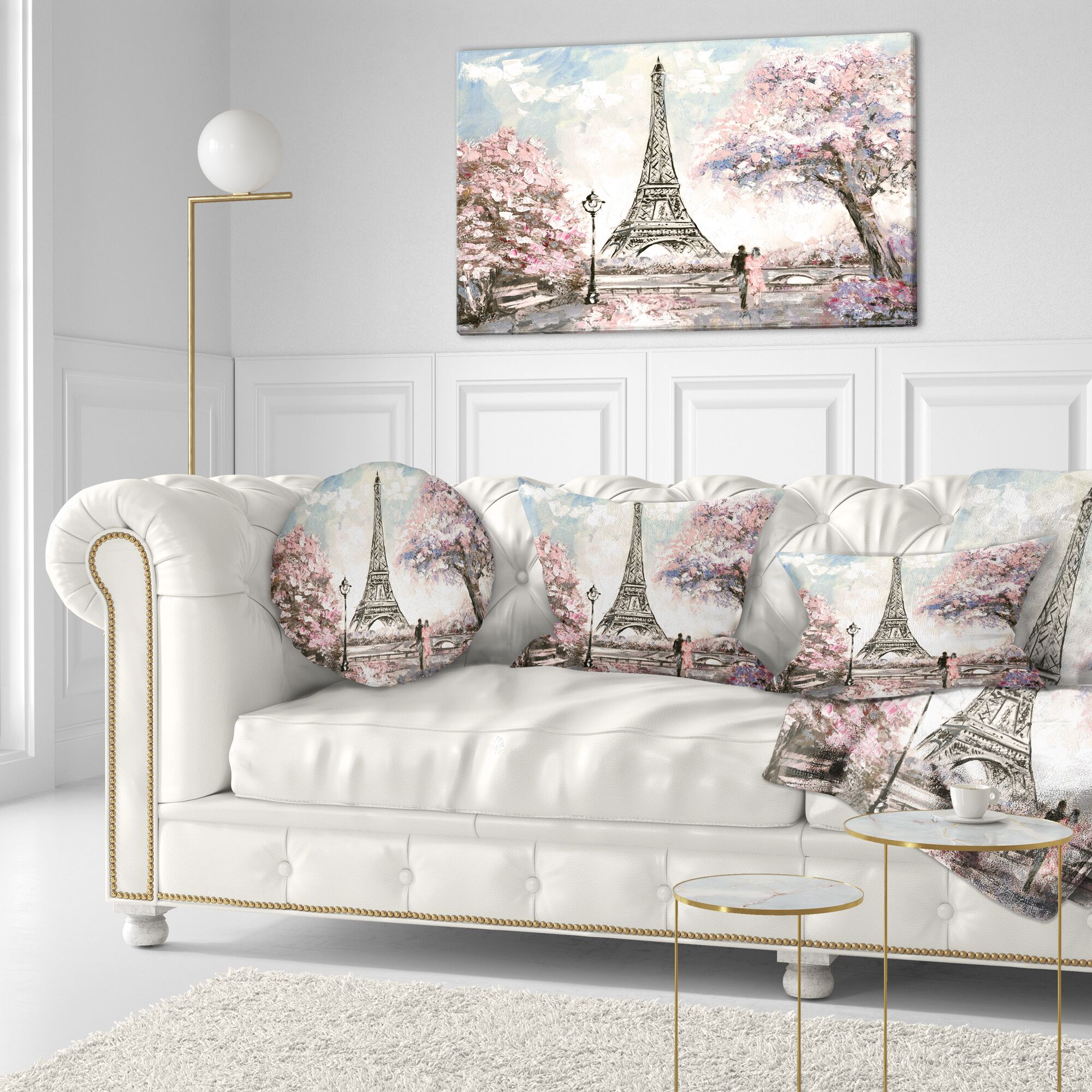 Landscape Eiffel with Pink Flowers Throw Pillow Size: 16