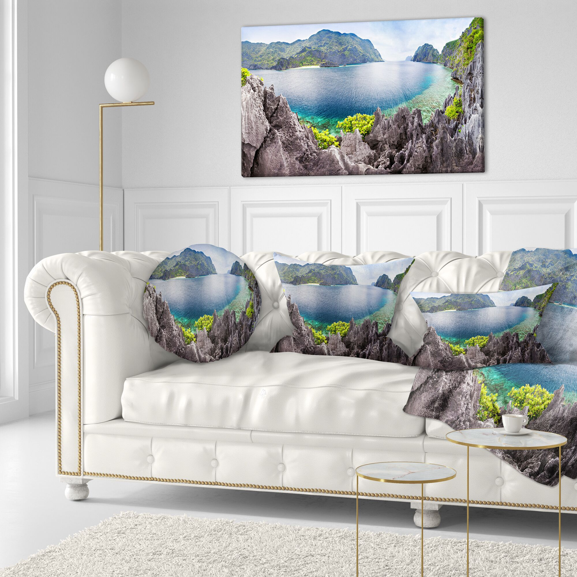 The Lagoon Panorama Landscape Printed Throw Pillow Size: 16