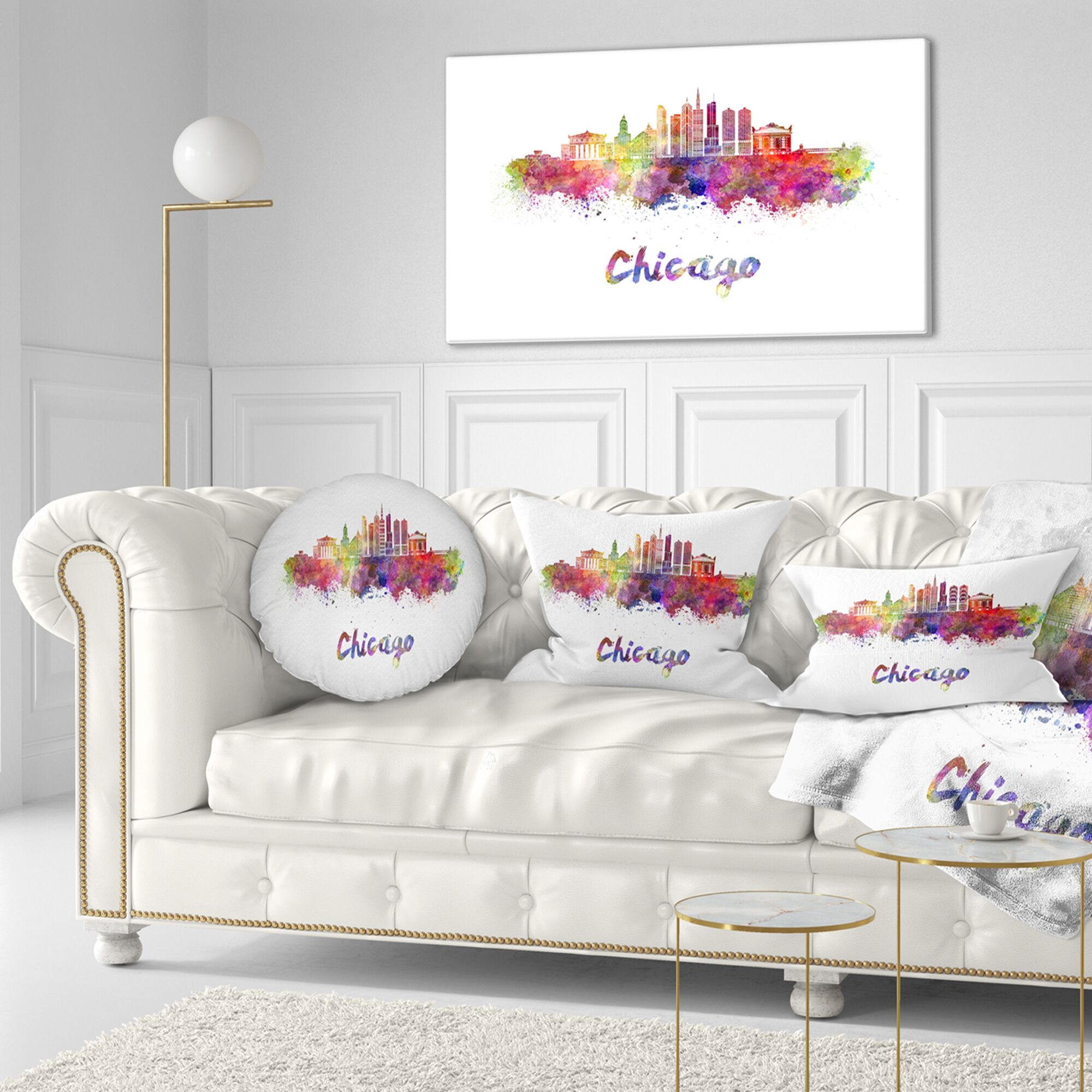 Chicago Skyline in Watercolor Cityscape Throw Pillow Size: 20