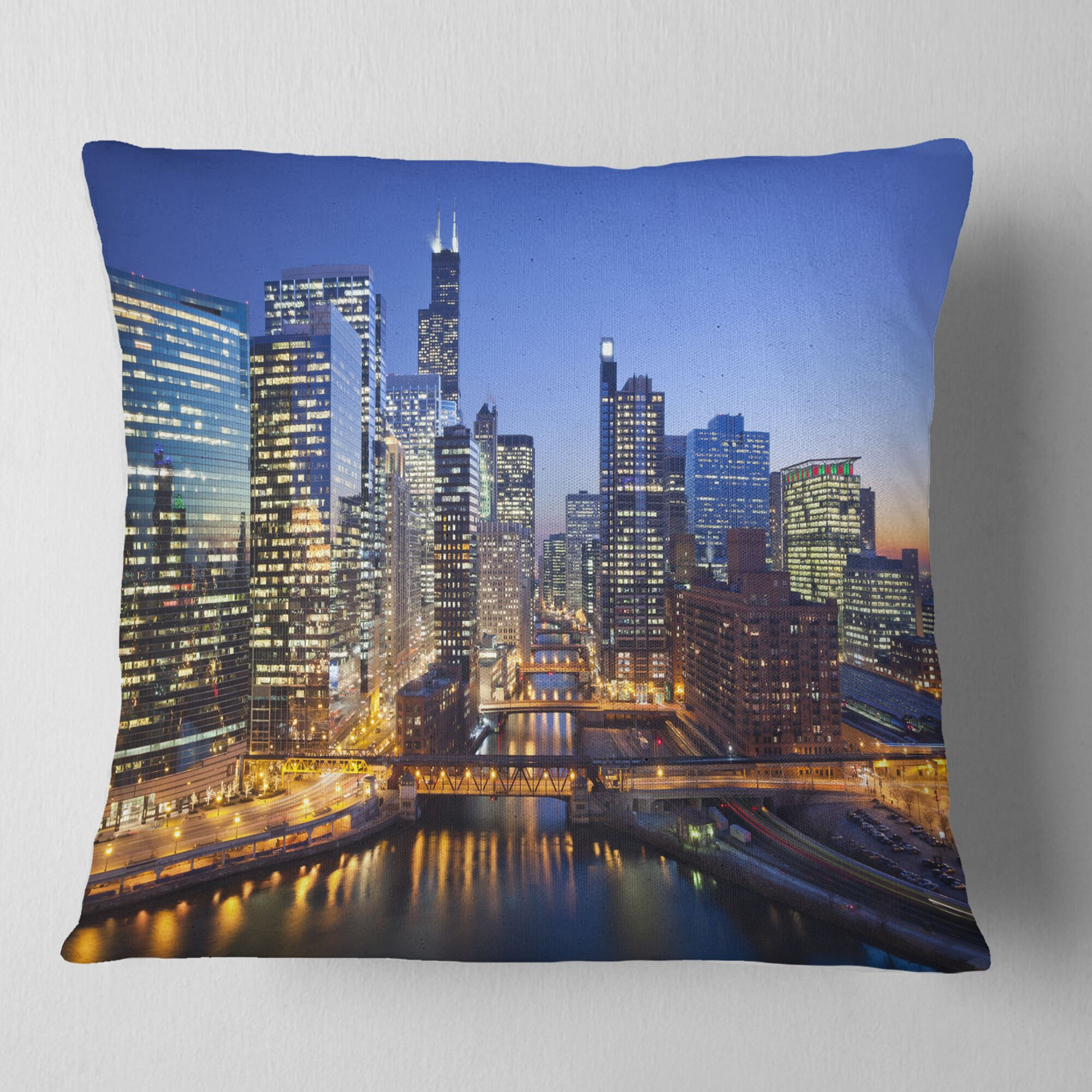 Chicago River with Bridges at Sunset Cityscape Pillow Size: 26