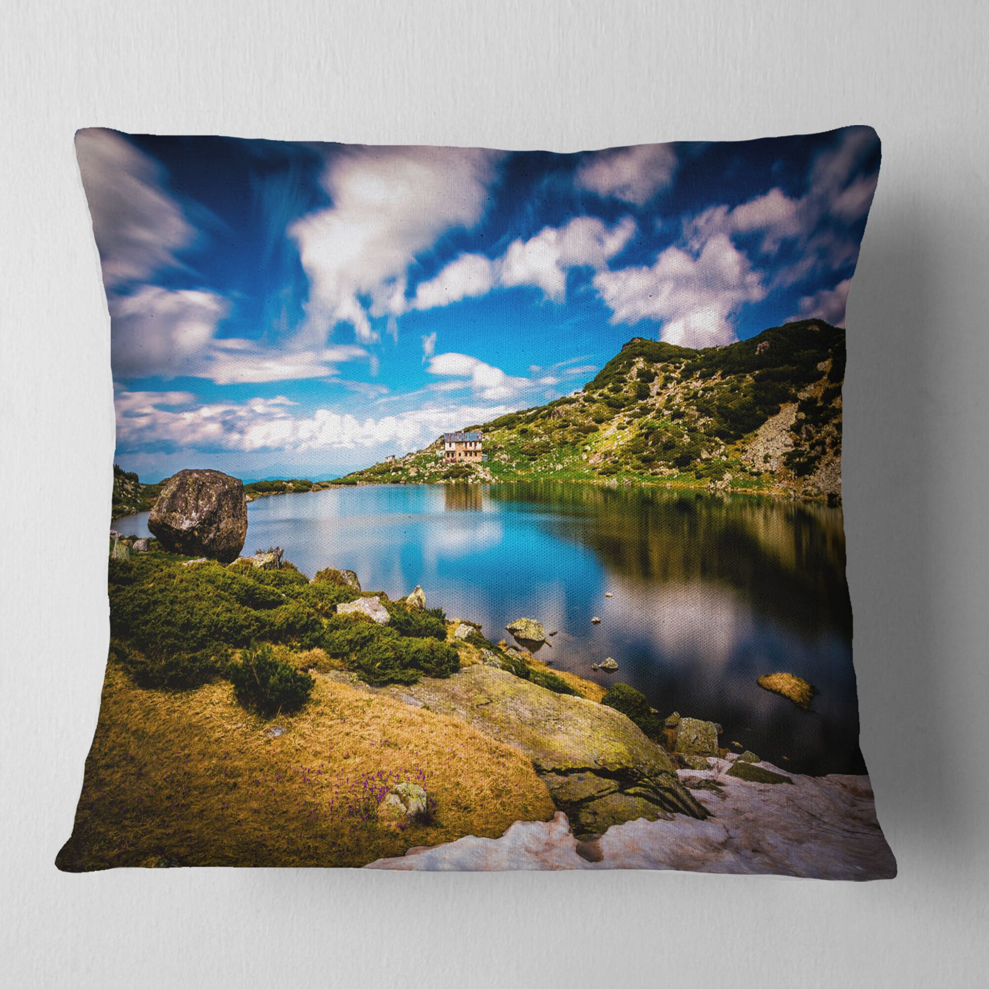 Long View of Seven Rila Lakes Landscape Printed Pillow Size: 26