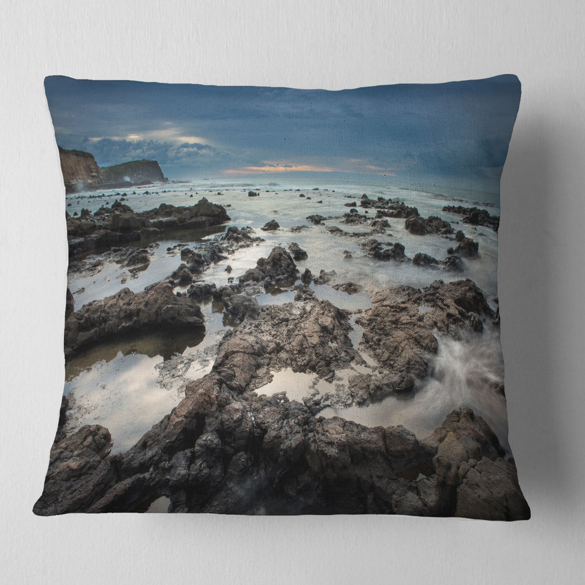 Rocky Seashore with Sky over Pillow Size: 18