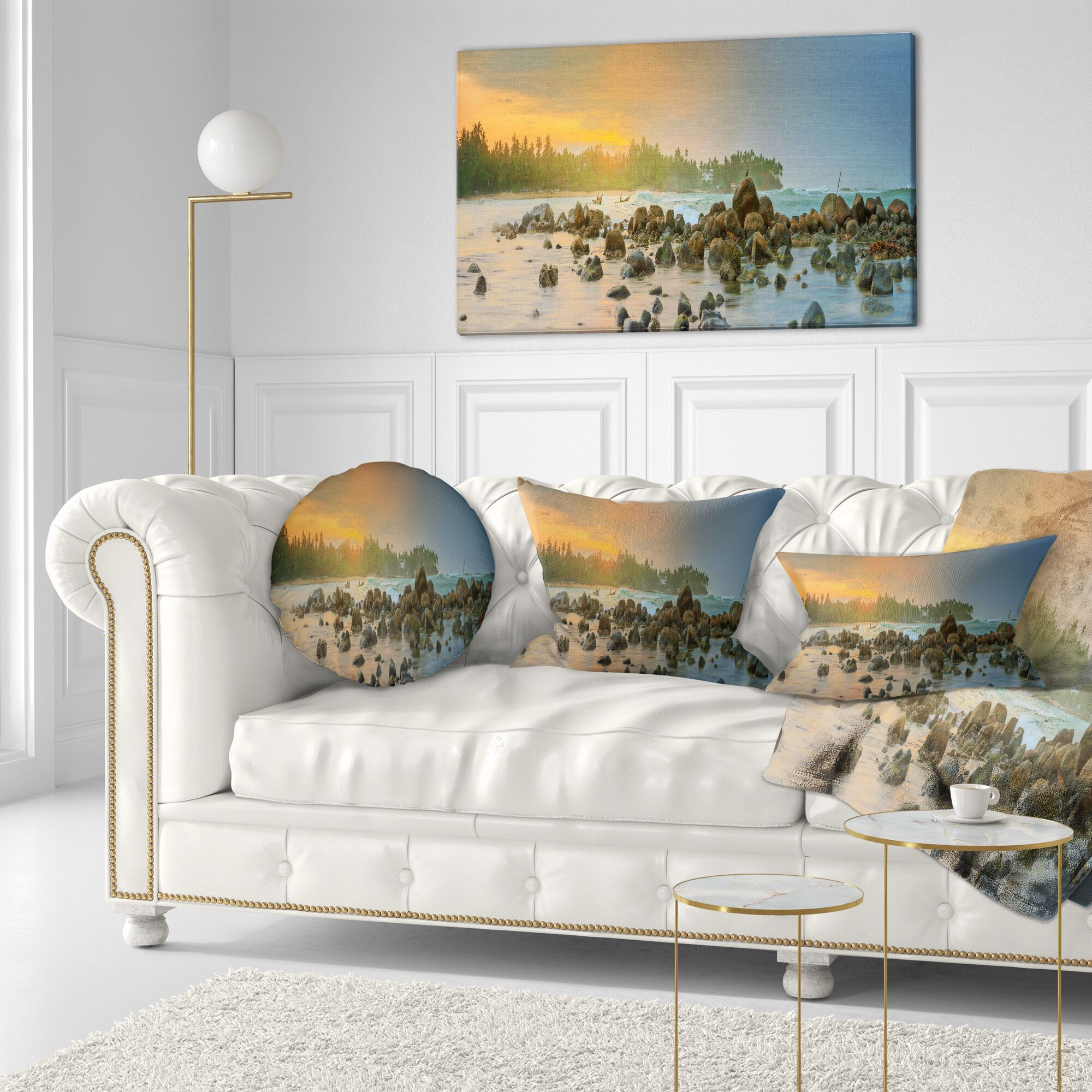 Romantic Untouched Beach Sunset Landscape Printed Throw Pillow Size: 20