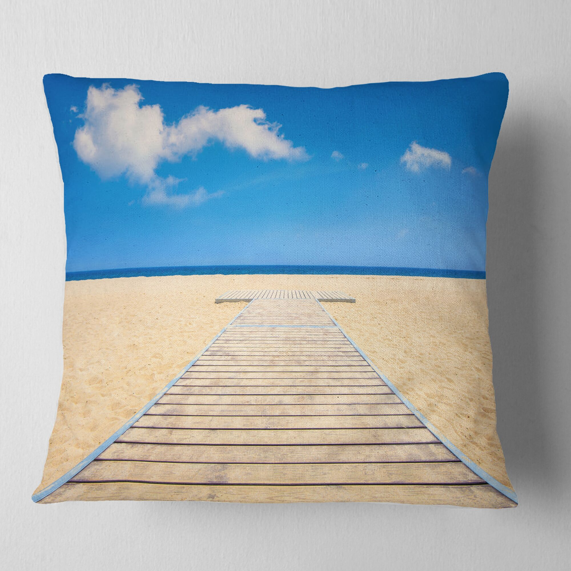 Beach and Sea with Wooden Floor Seashore Pillow Size: 18