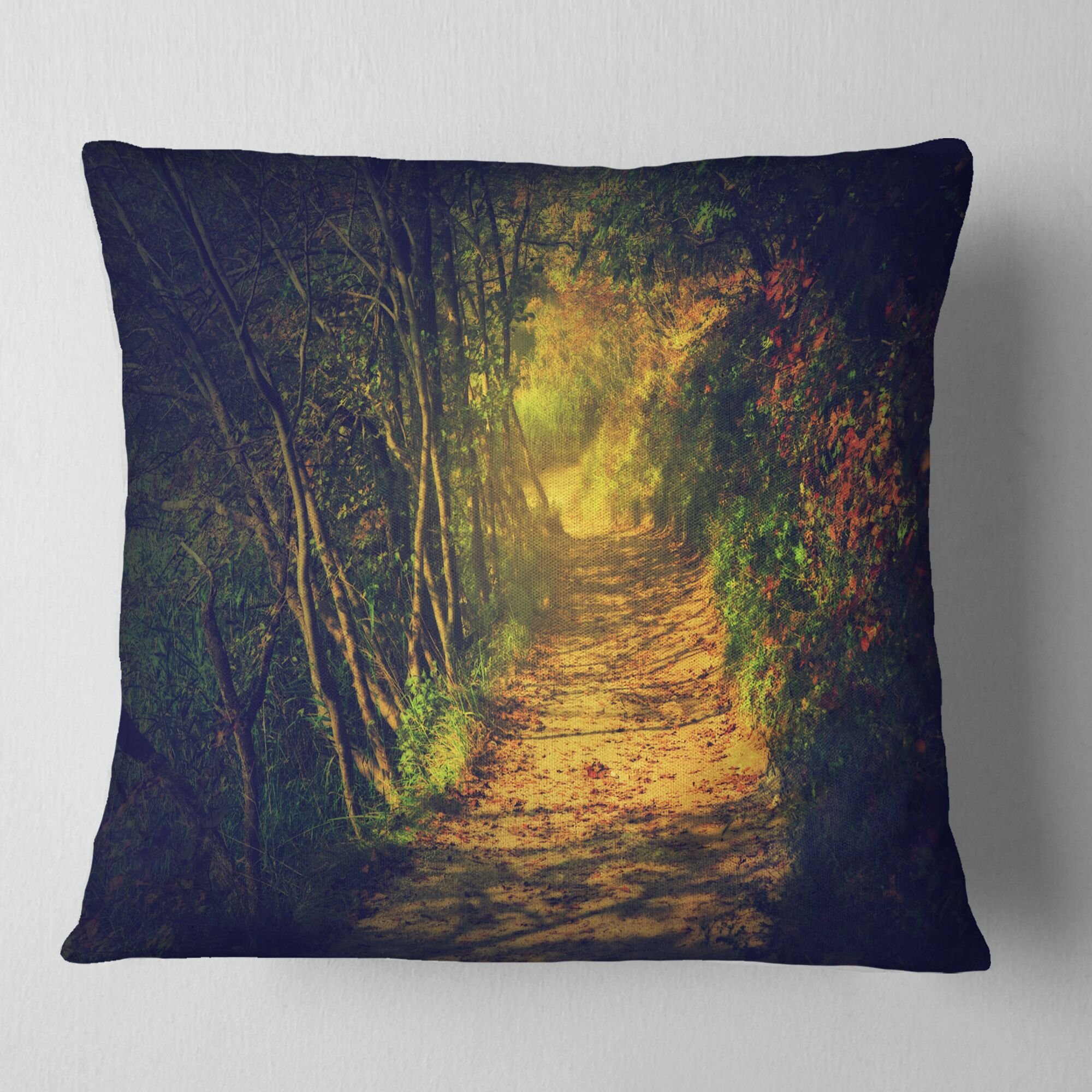 Autumn Forest Path in Sunshine Landscape Photography Pillow Size: 16