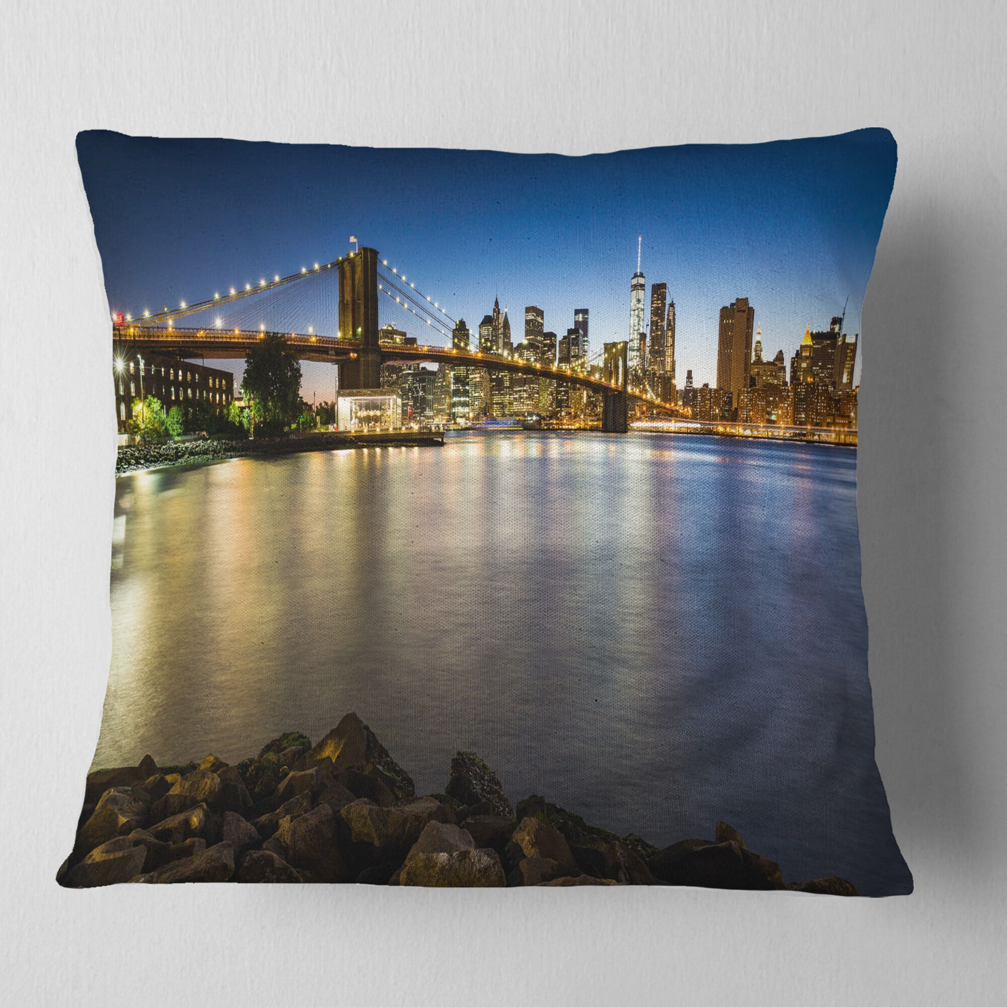 Distant View of Brooklyn Bridge Cityscape Pillow Size: 16