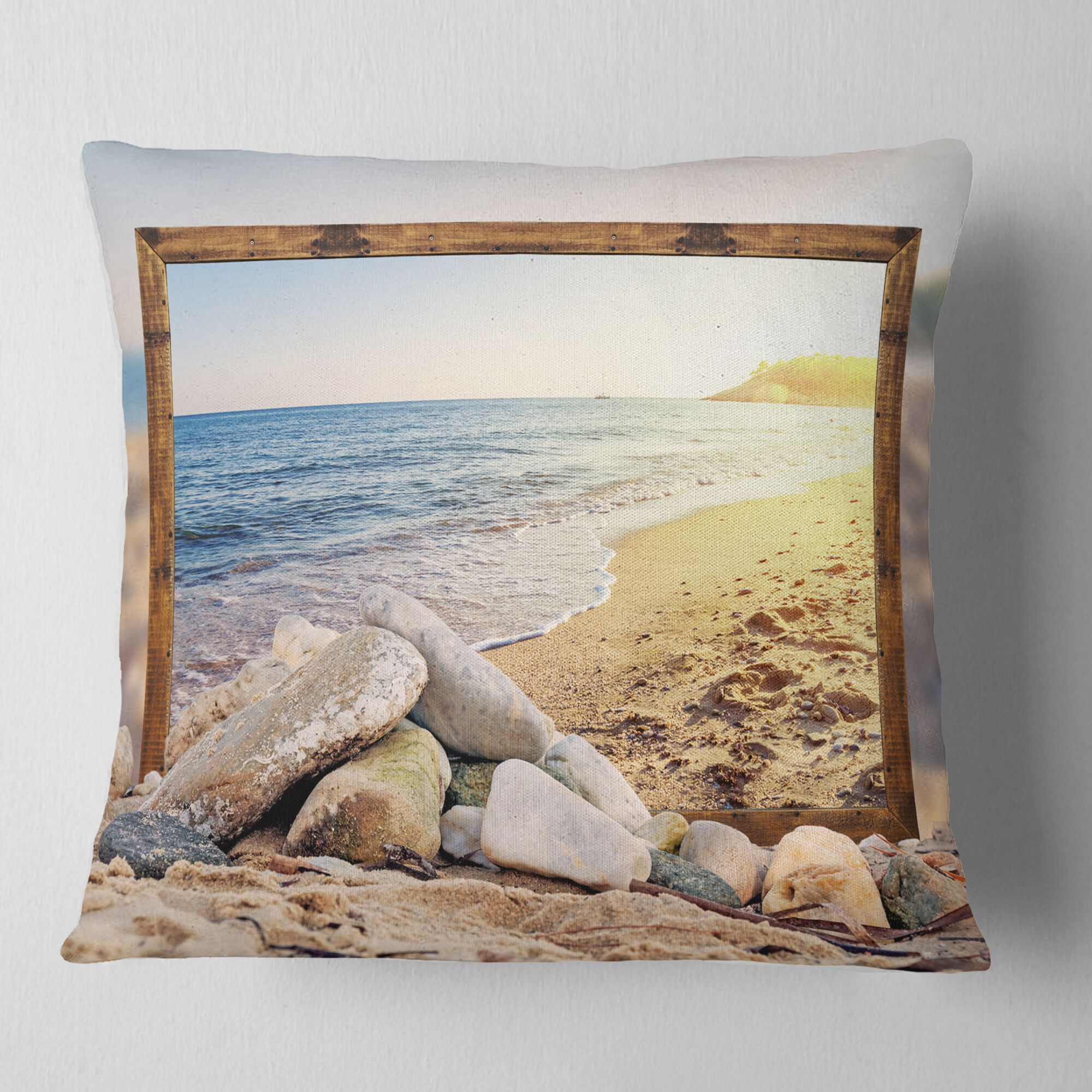 Framed Effect Beach Rocks Seashore Pillow Size: 26