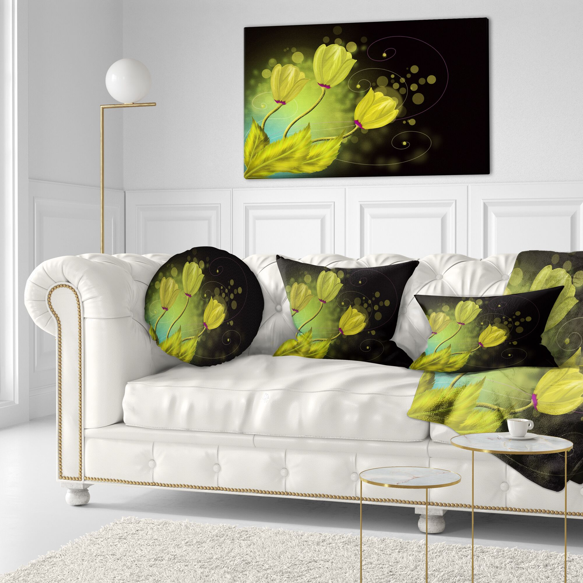 Flowers Greeting Card Floral Throw Pillow Size: 16