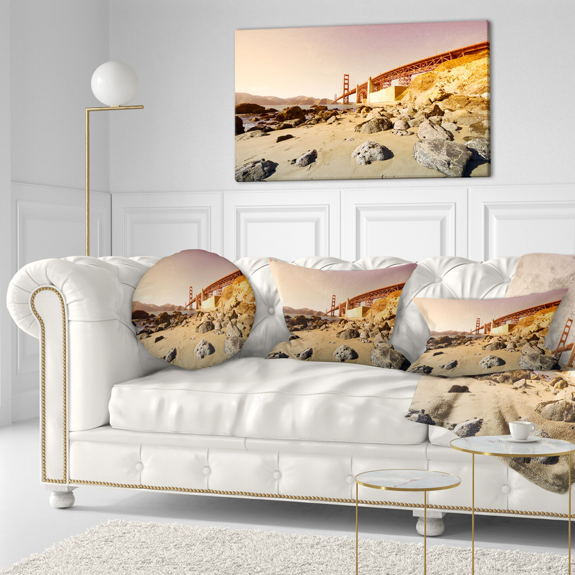 Gate in Bright Day Landscape Printed Throw Pillow Size: 16