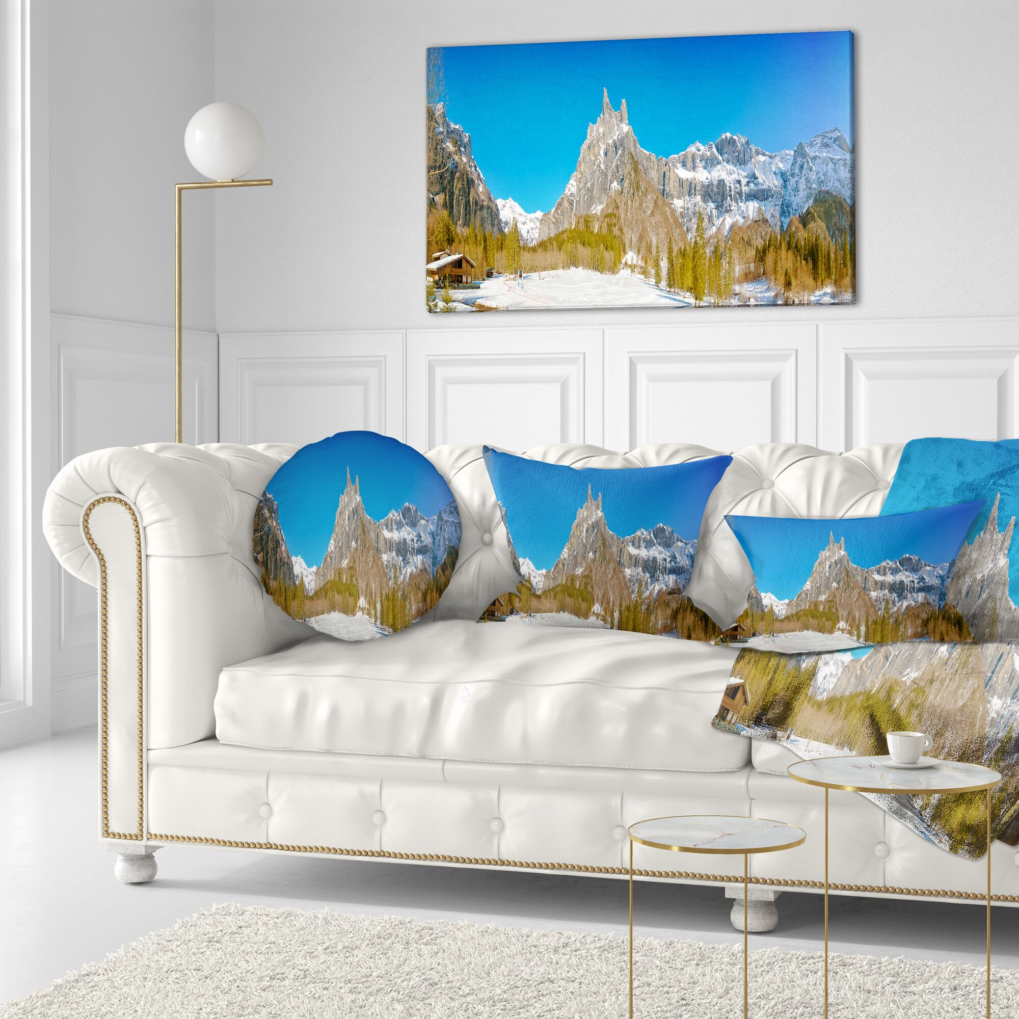 Sixt Fer a Cheval Panoramic View Landscape Printed Throw Pillow Size: 20