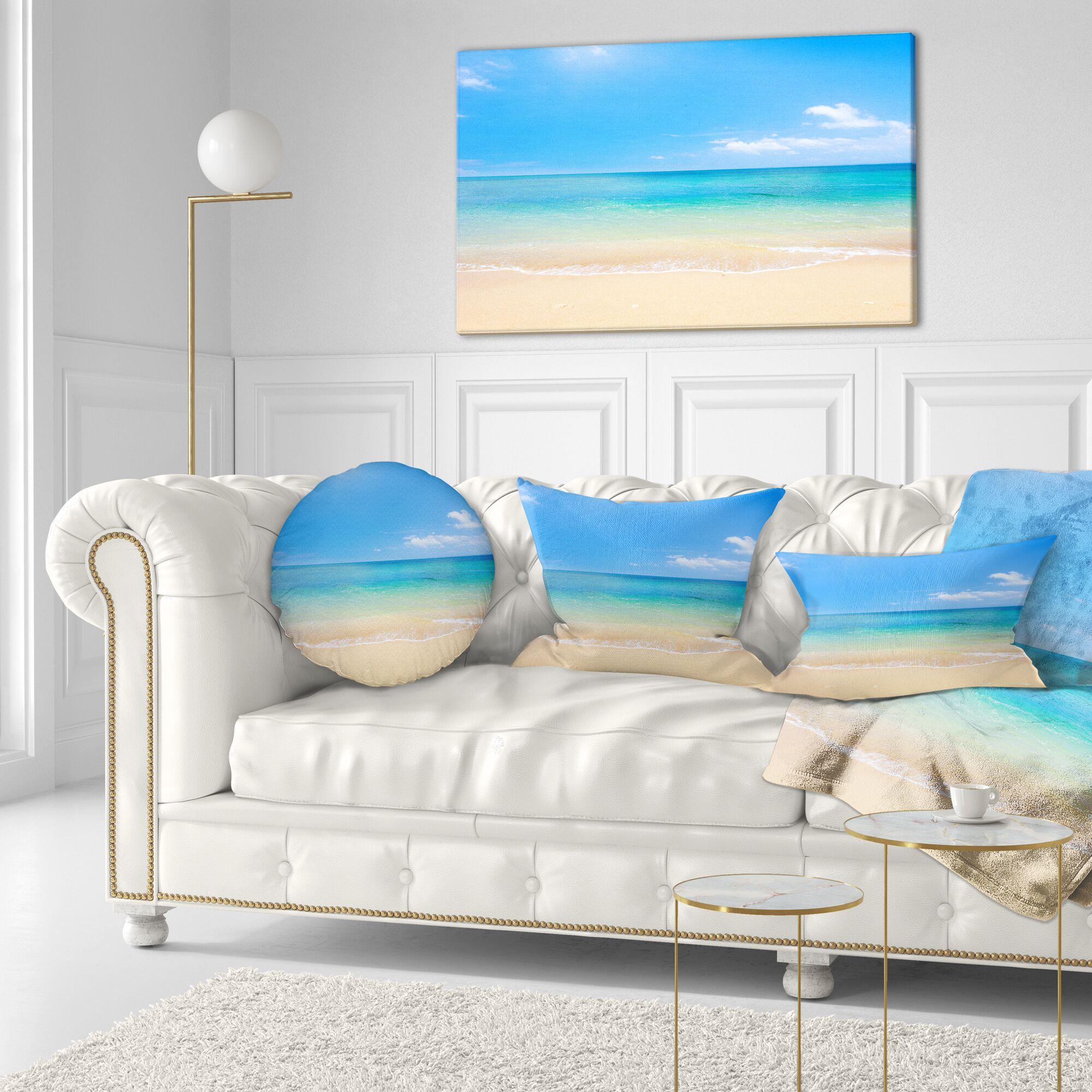 Waters Below Sky Seashore Photo Throw Pillow Size: 16