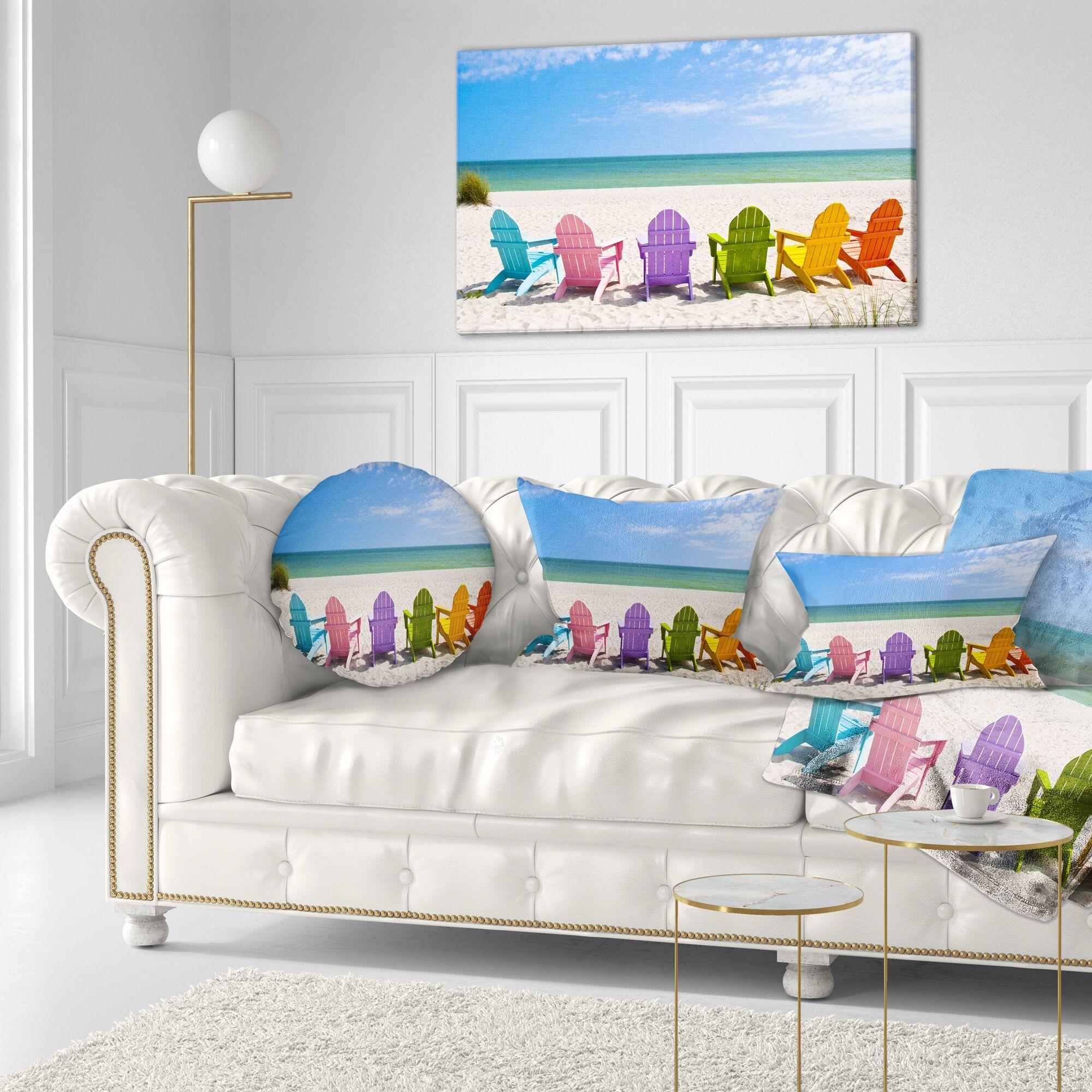 Adirondack Beach Chairs Seashore Photo Throw Pillow Size: 16'' x 16''