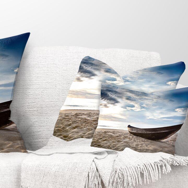 Old Fisherman Boat Seashore Photography Pillow Size: 12