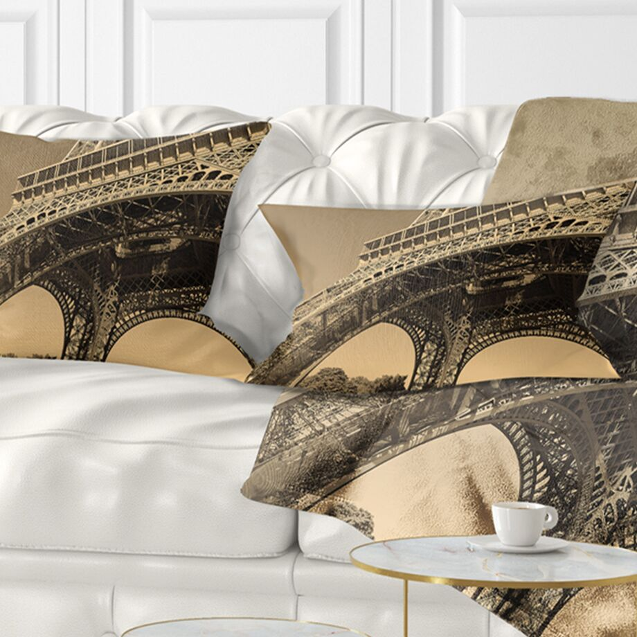 Iconic Paris Eiffel Tower Side View from Ground Cityscape Pillow Size: 12