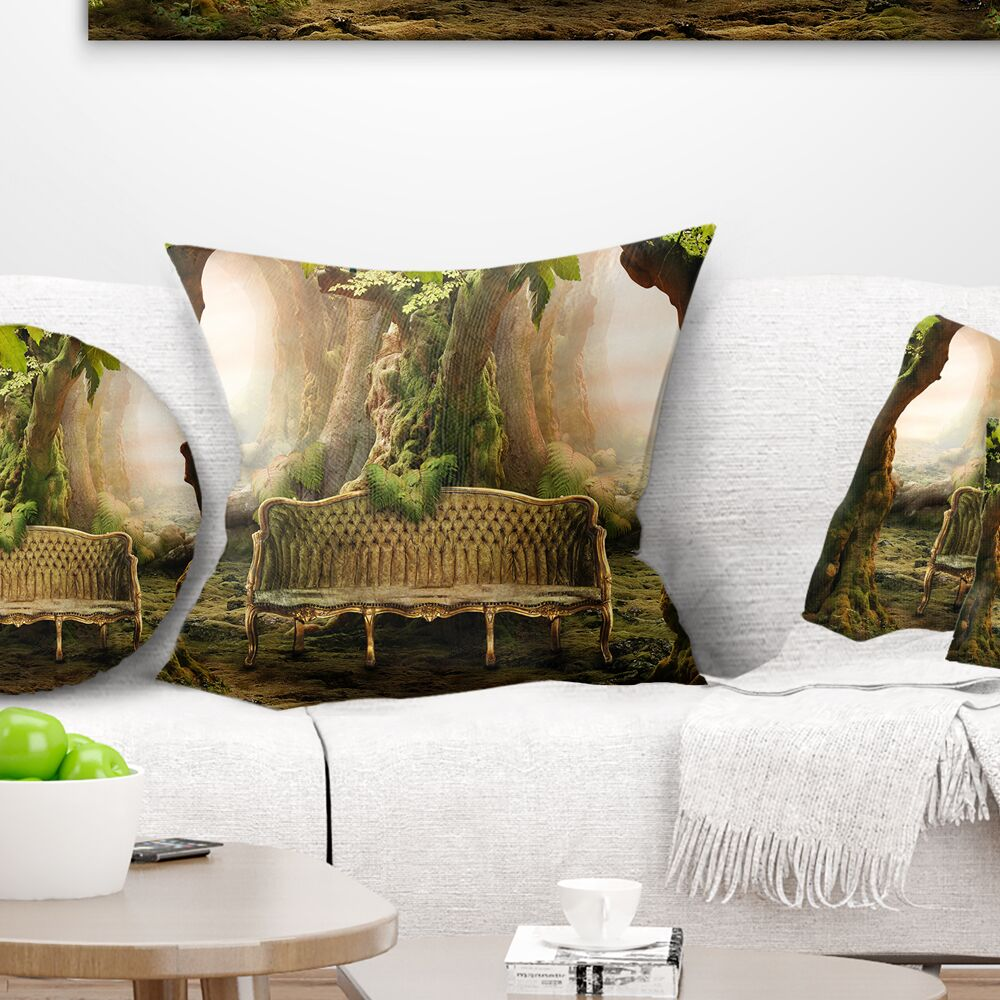 Romantic Seat in Deep Forest Landscape Photography Pillow Size: 16