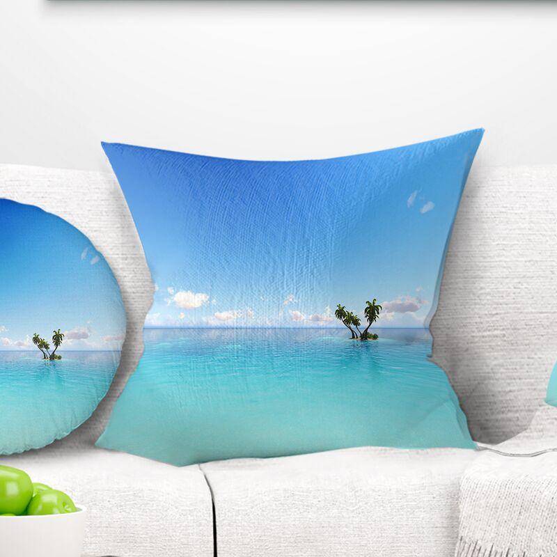 Corals Island Sea Seascape Pillow Size: 18