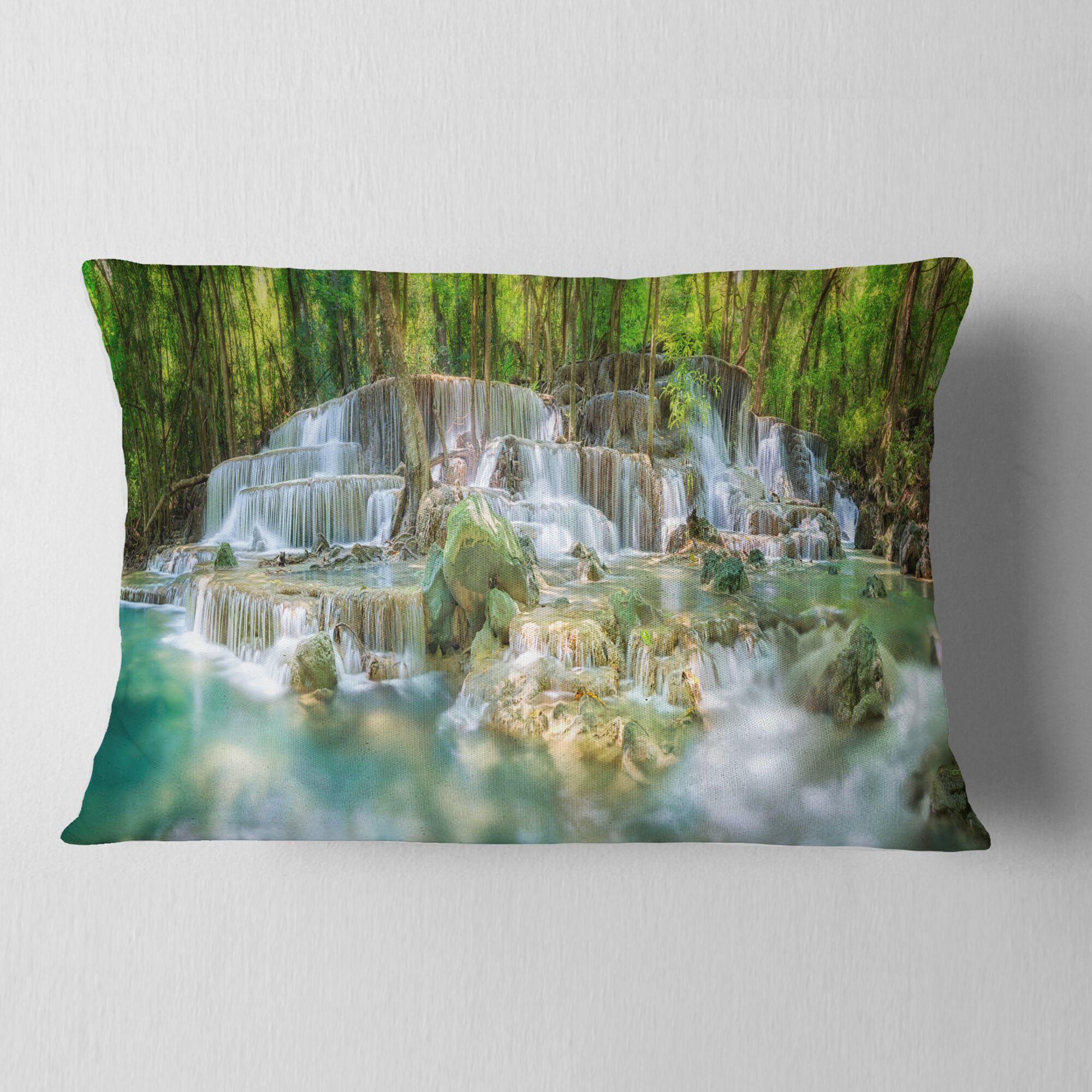 Landscape Printed Level 6 of Huaimaekamin Waterfall Lumbar Pillow