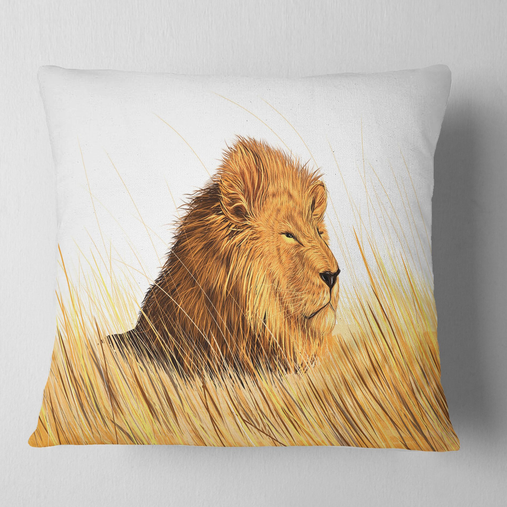 Animal Lion Watching the Surroundings Pillow Size: 18