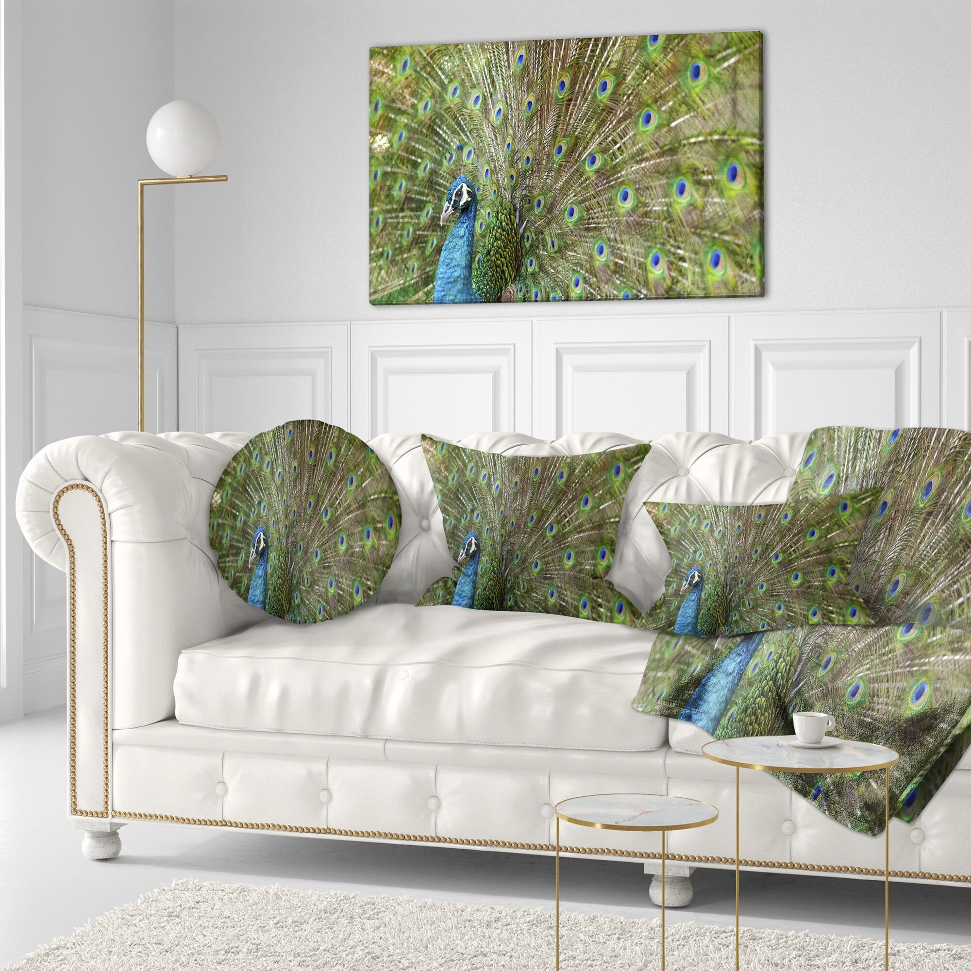 Animal Beautiful Peacock with Feathers Throw Pillow Size: 20