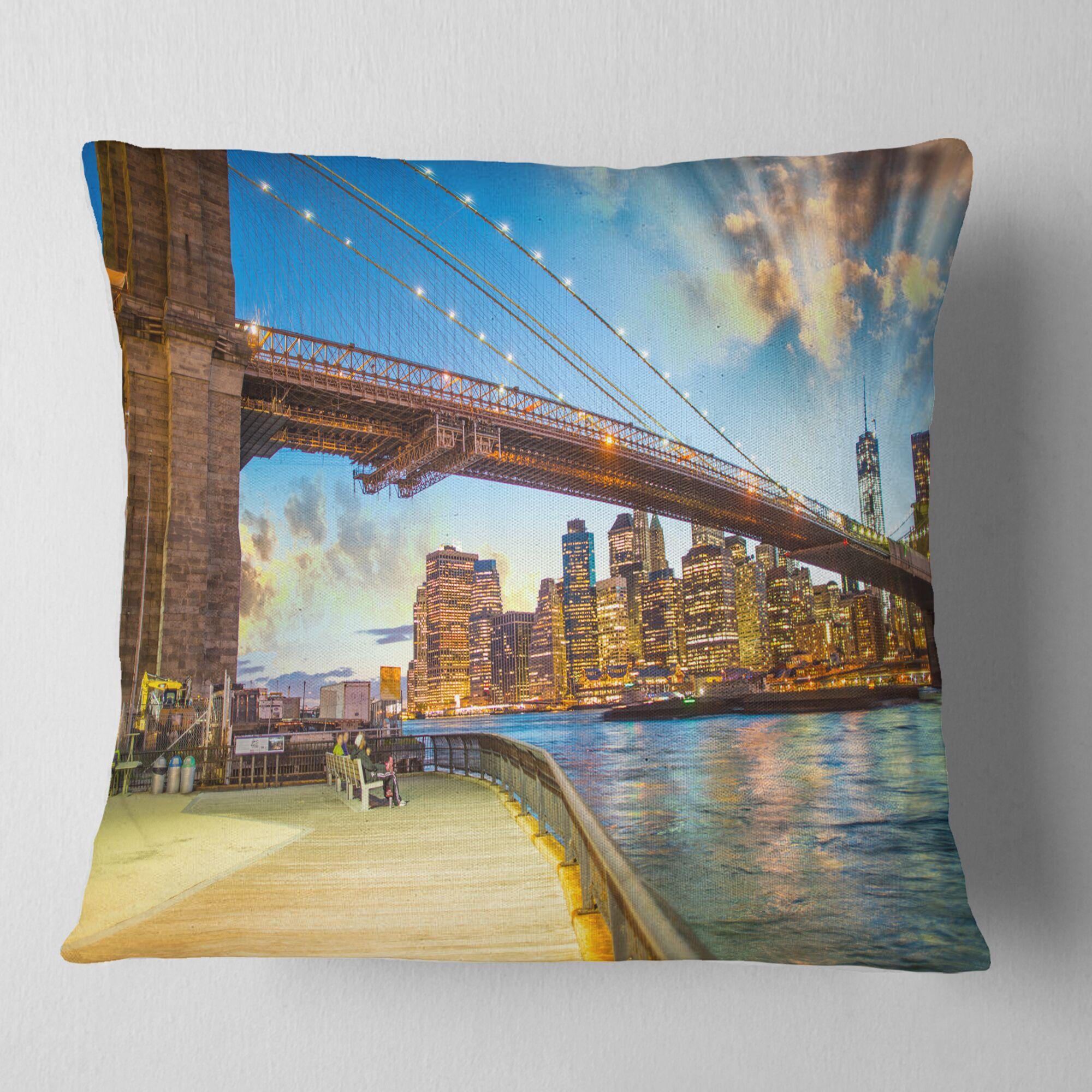 Cityscape Photography Bridge Park Brooklyn Pillow Size: 26