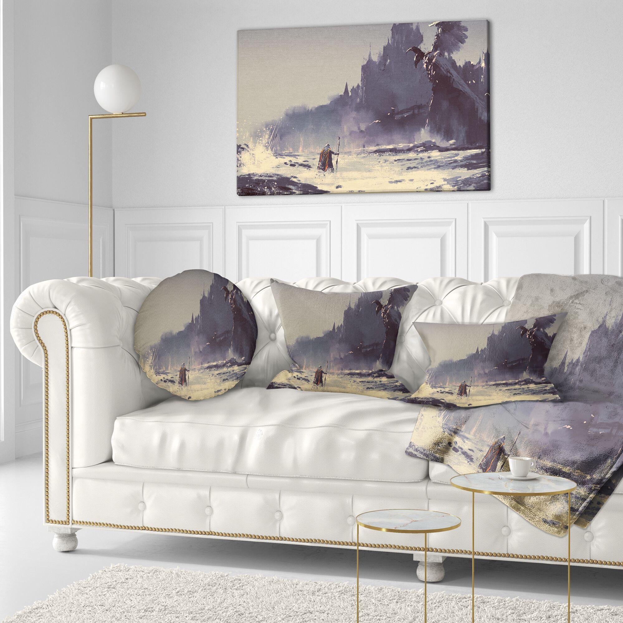 Landscape Painting Dark Fantasy Castle Lumbar Pillow
