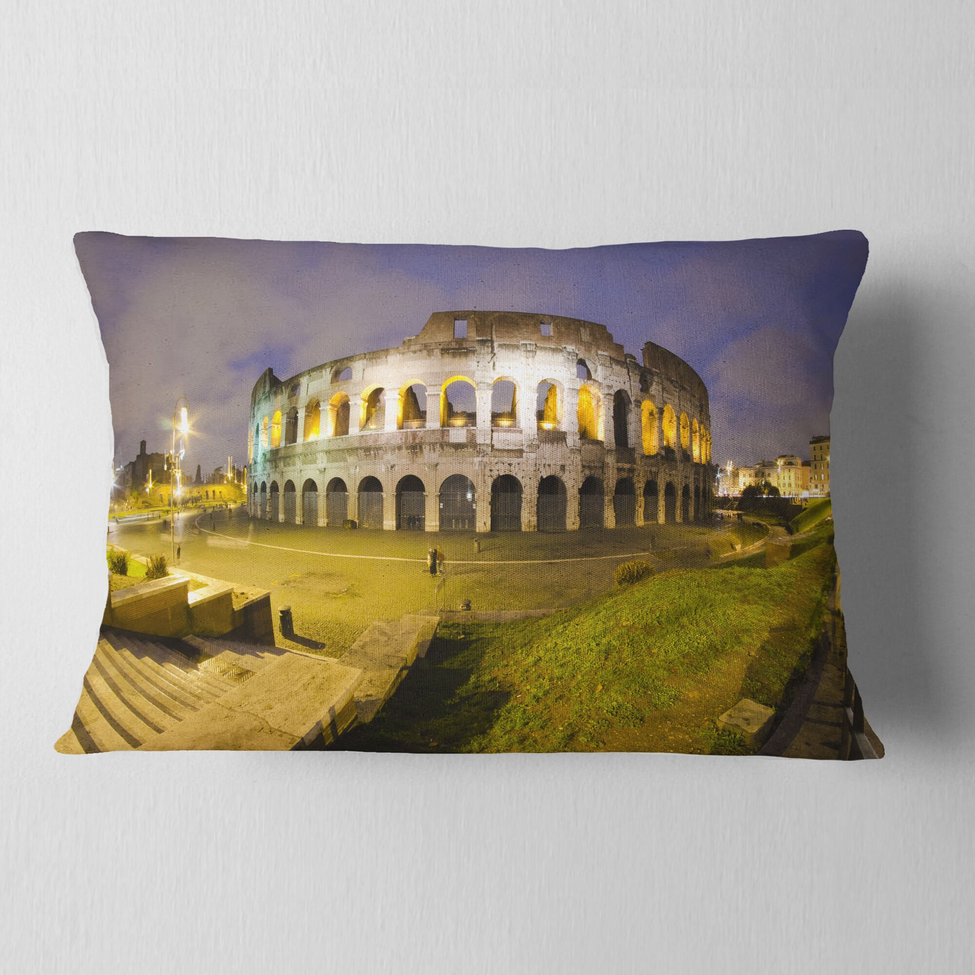 Landscape Monumental Colosseum by Night Lumbar Pillow