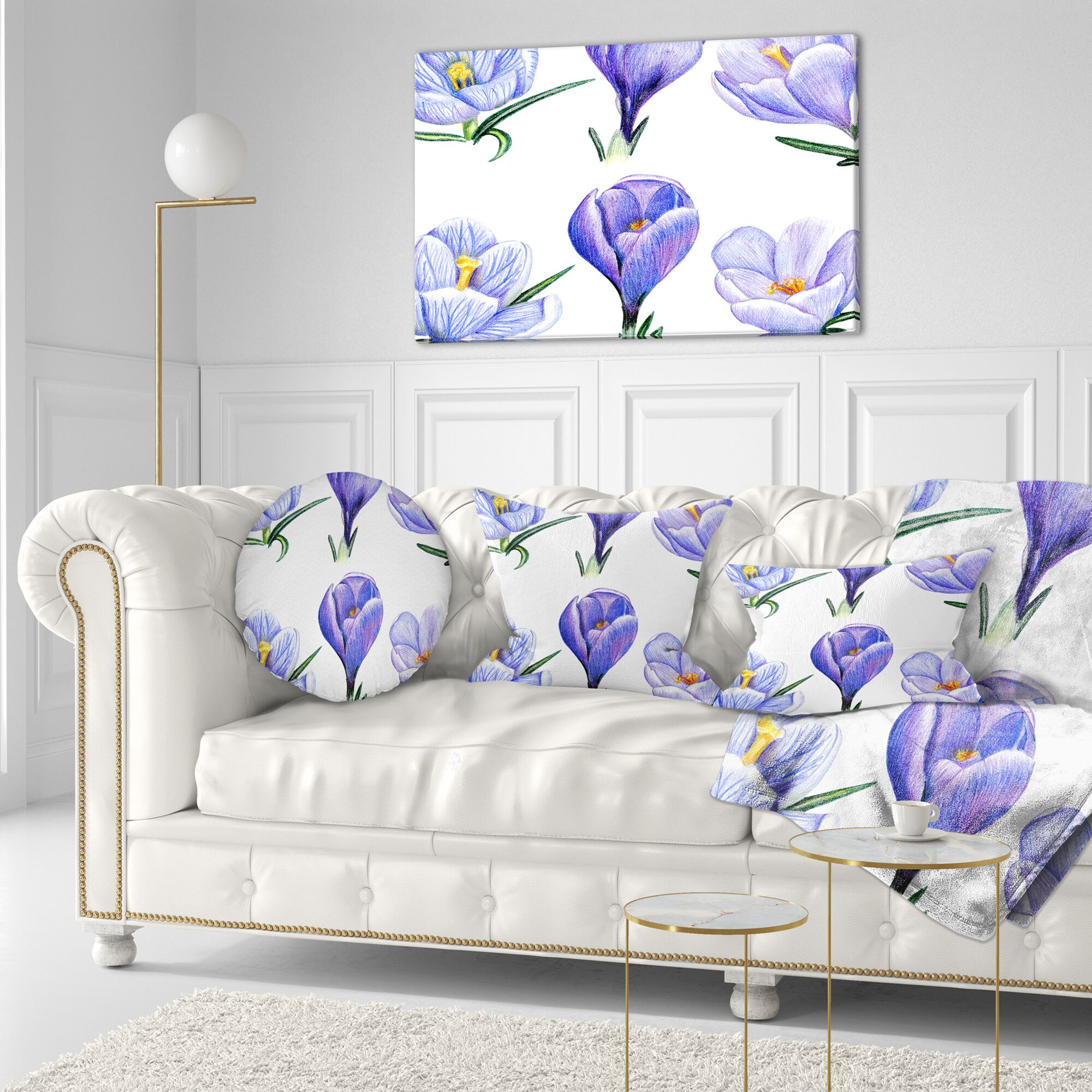 Floral Painting Hand Drawn Crocuses Throw Pillow Size: 16