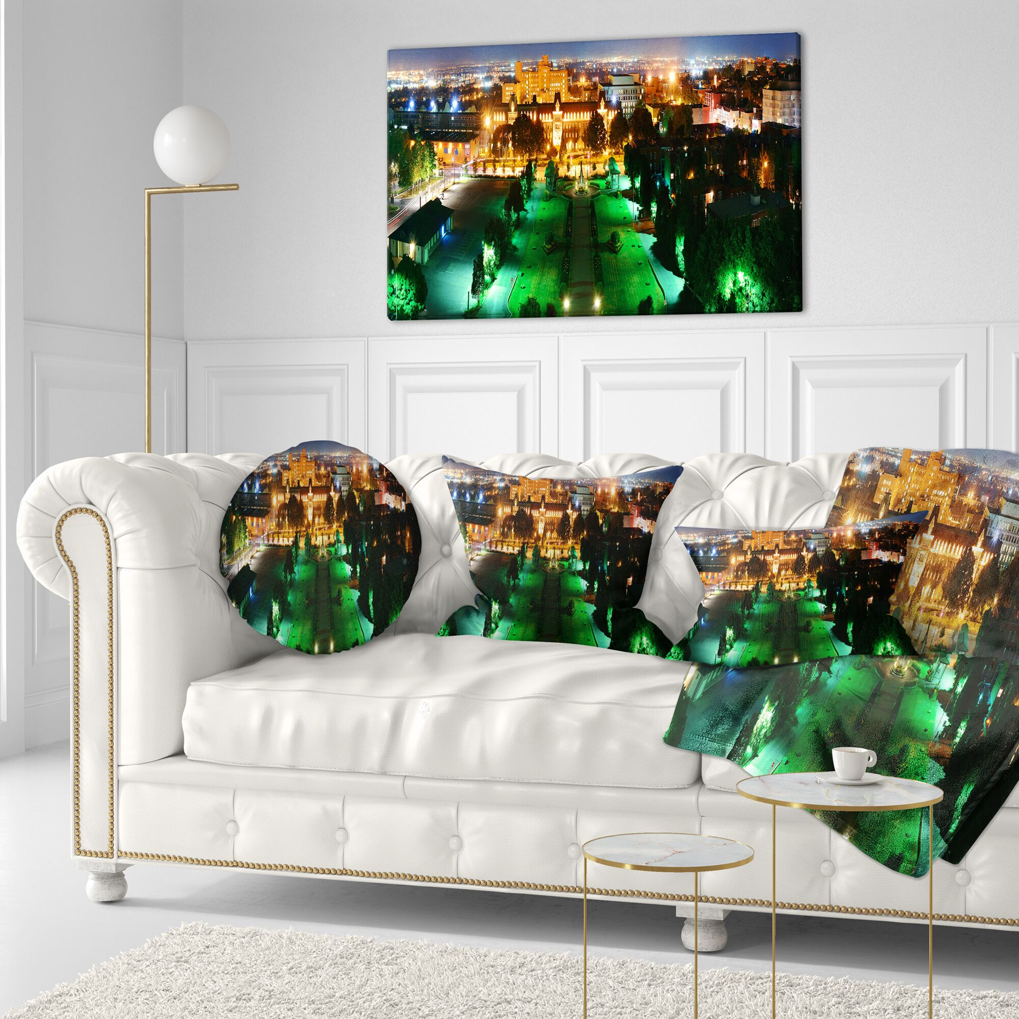 Cityscape Photo Lighted Montreal City at Night Throw Pillow Size: 20