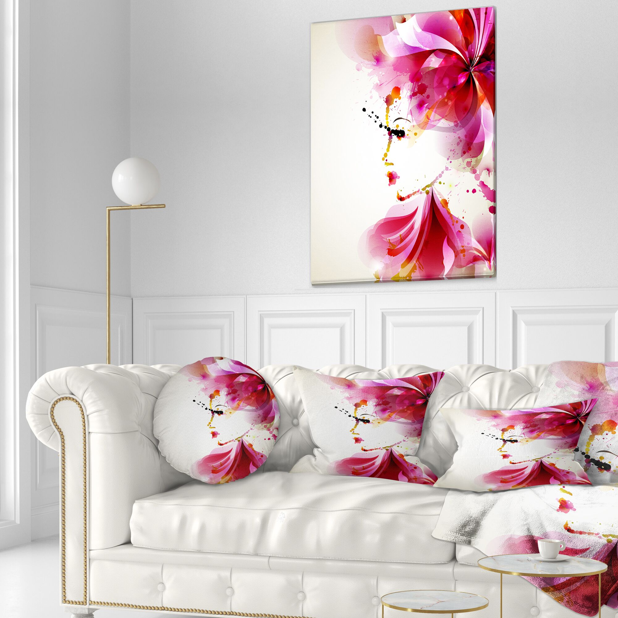 Abstract Fashion Woman with Abstract Hair Throw Pillow Size: 20