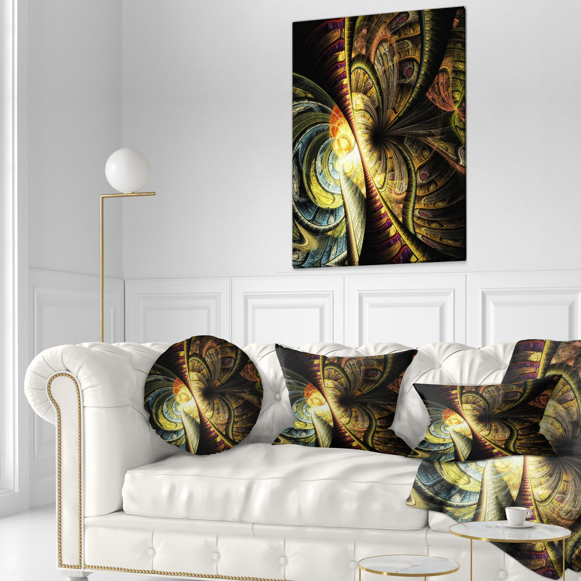 Abstract Fractal Illustration Throw Pillow Size: 20