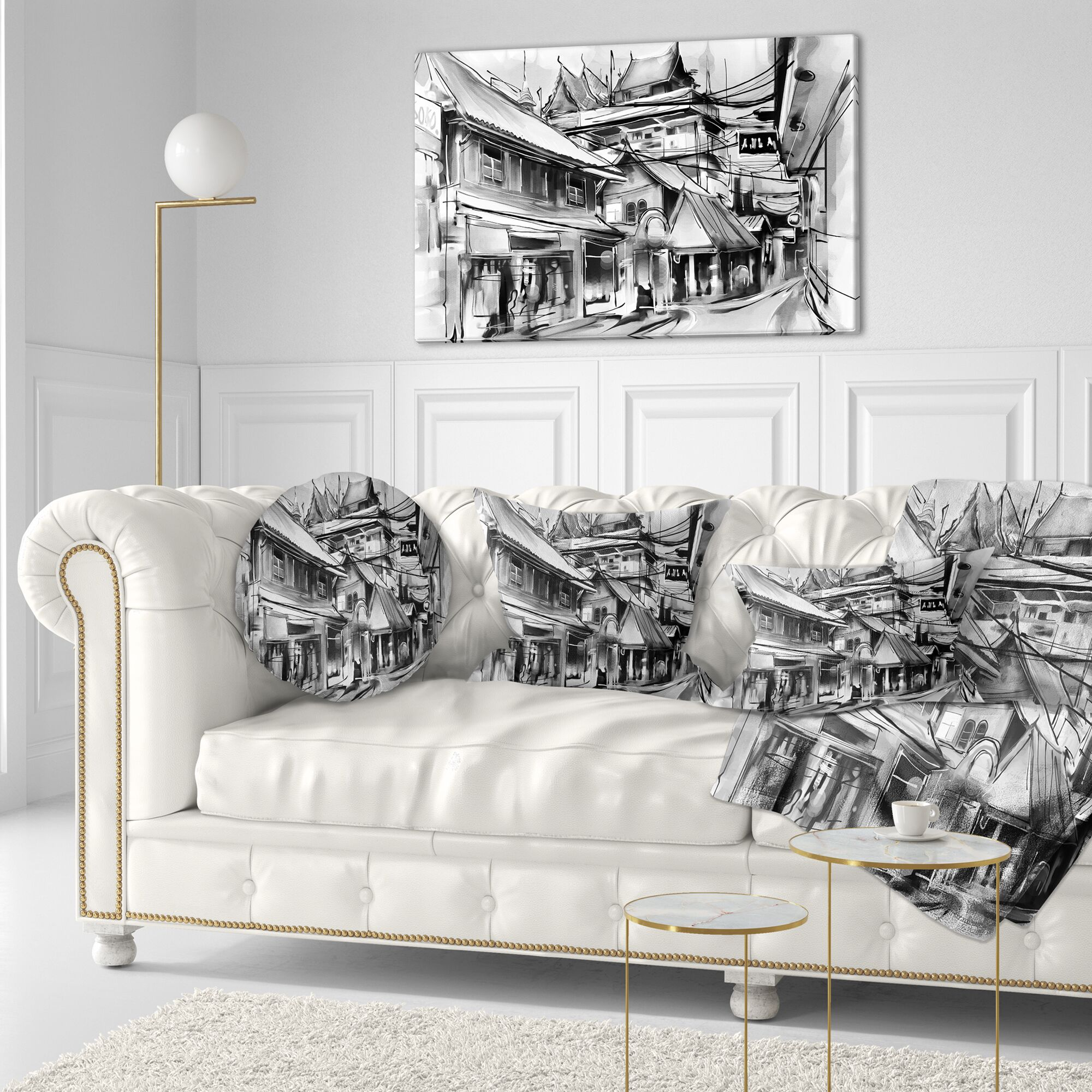 Cityscape City Street Illustration Throw Pillow Size: 16