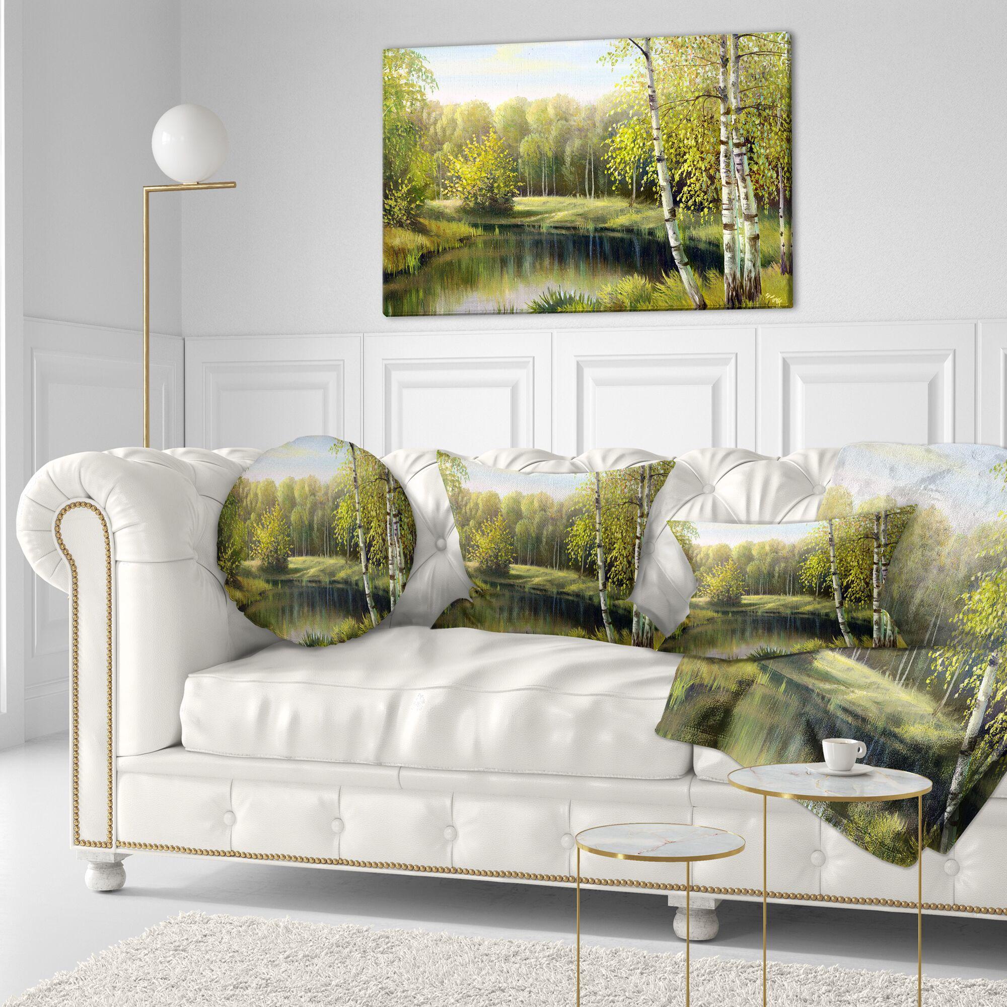 Landscape Quiet Autumn River Throw Pillow Size: 20