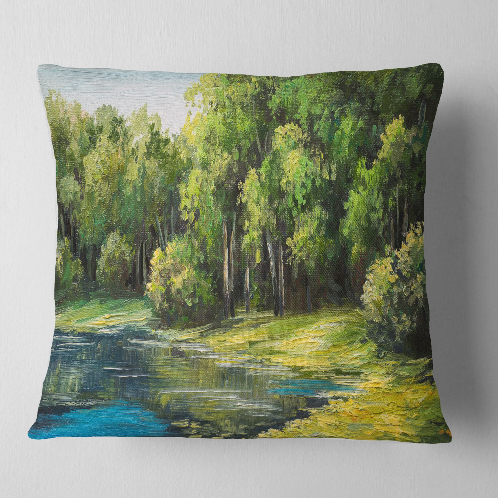 Landscape Summer Day Lake Pillow Size: 26