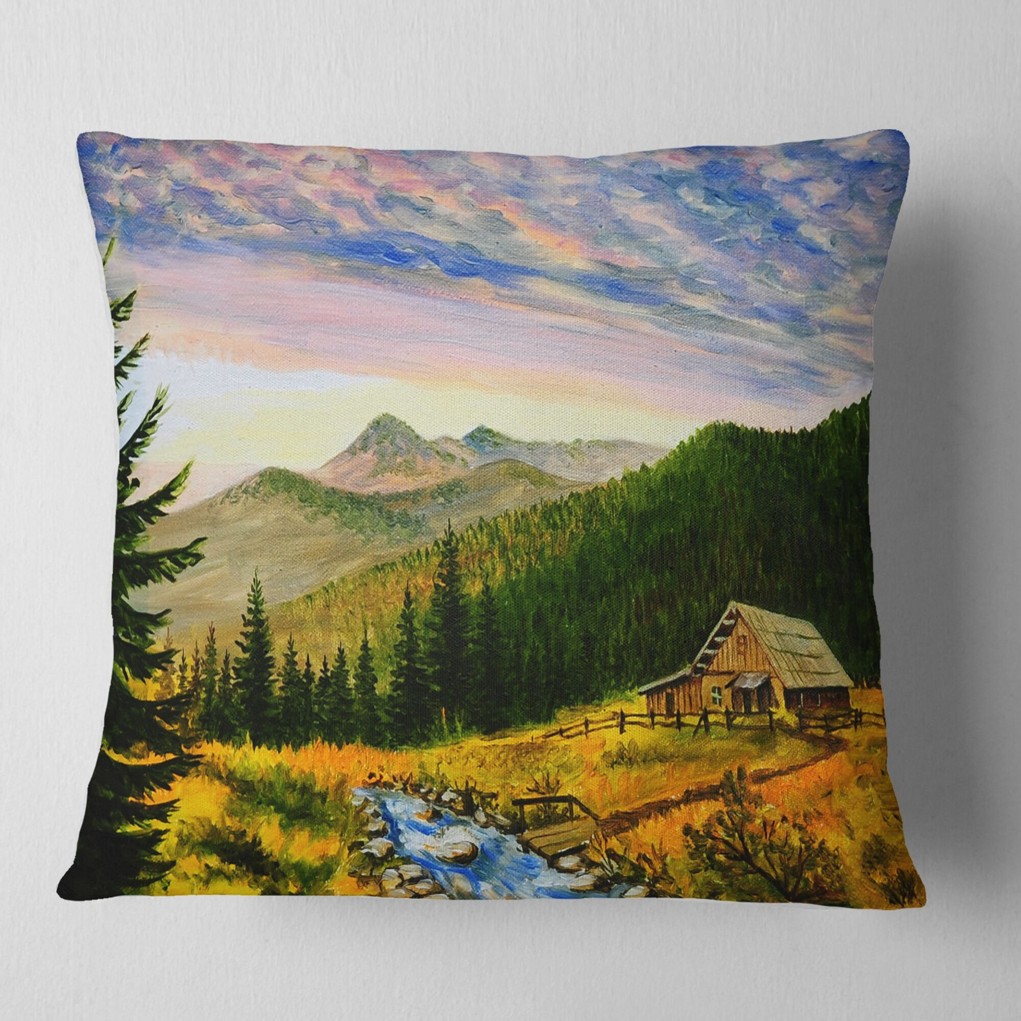 Landscape Sunset Pillow Size: 26