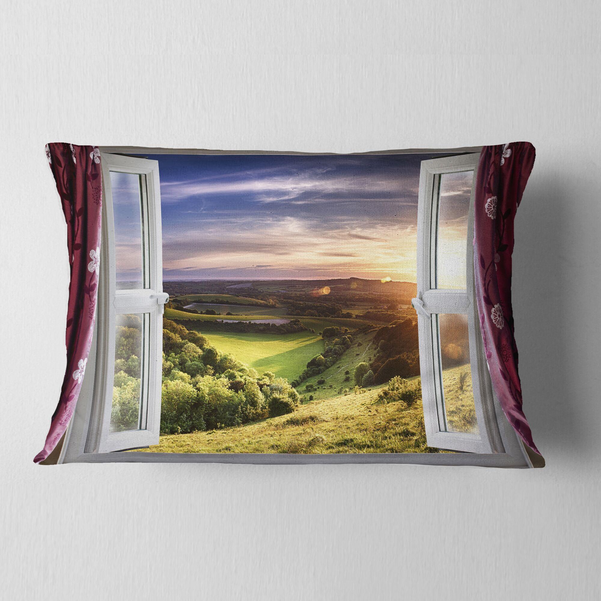 Landscape Window View Lumbar Pillow